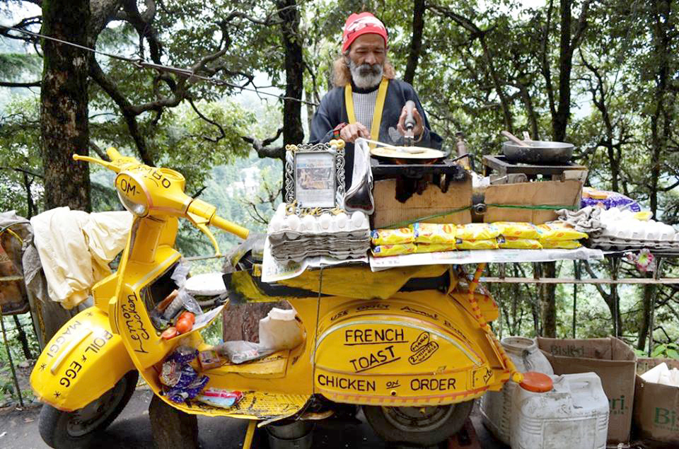 The bright yellow Maggi noodles were among the popular snacks sold by this food vendor in the hill town of Dalhousie, India, June 9, 2015.