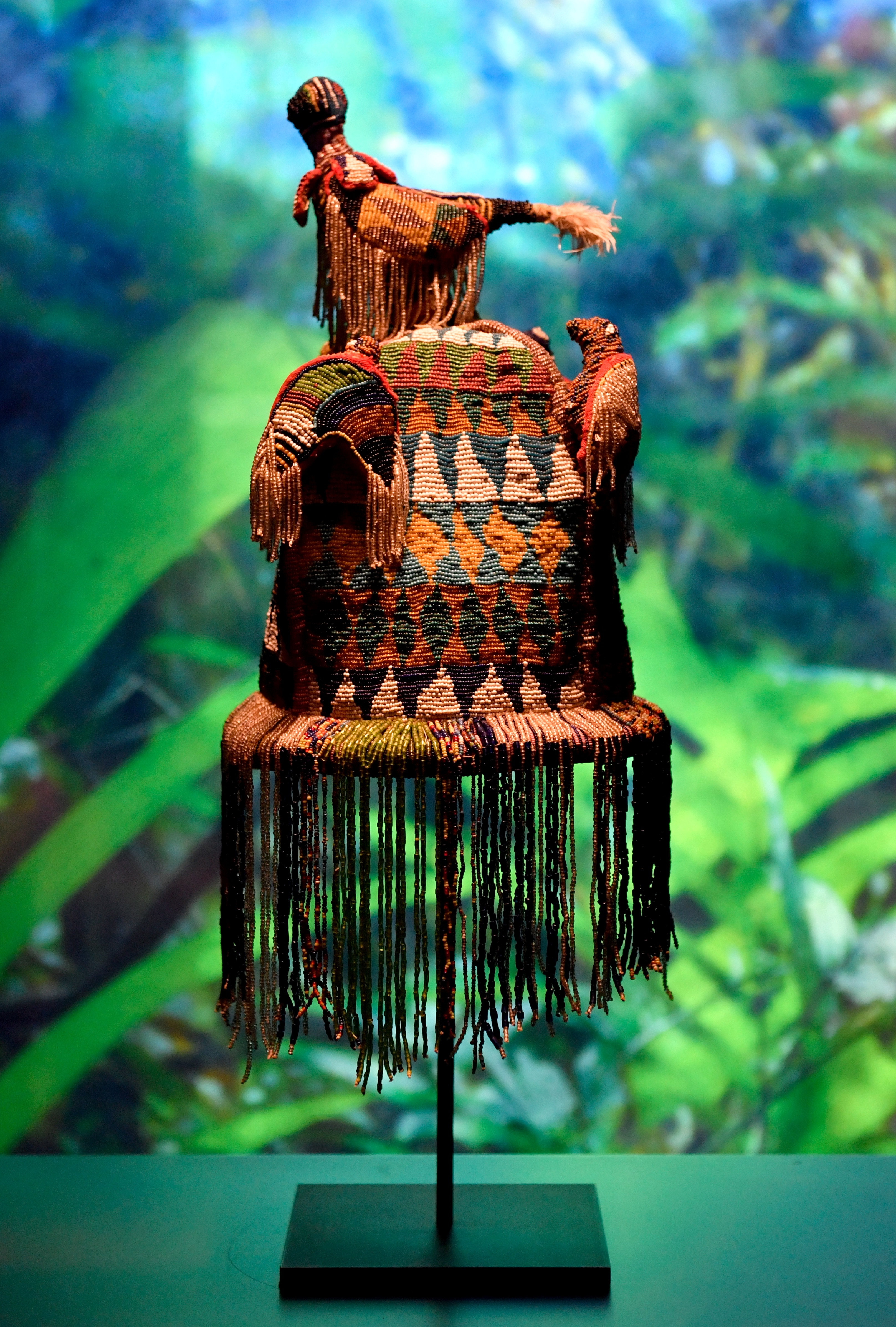 Funerary crown of the Kingdom of Dahomey dating from 1860-1889 is pictured, on May 18, 2018 at the Quai Branly Museum-Jacques Chirac in Paris.