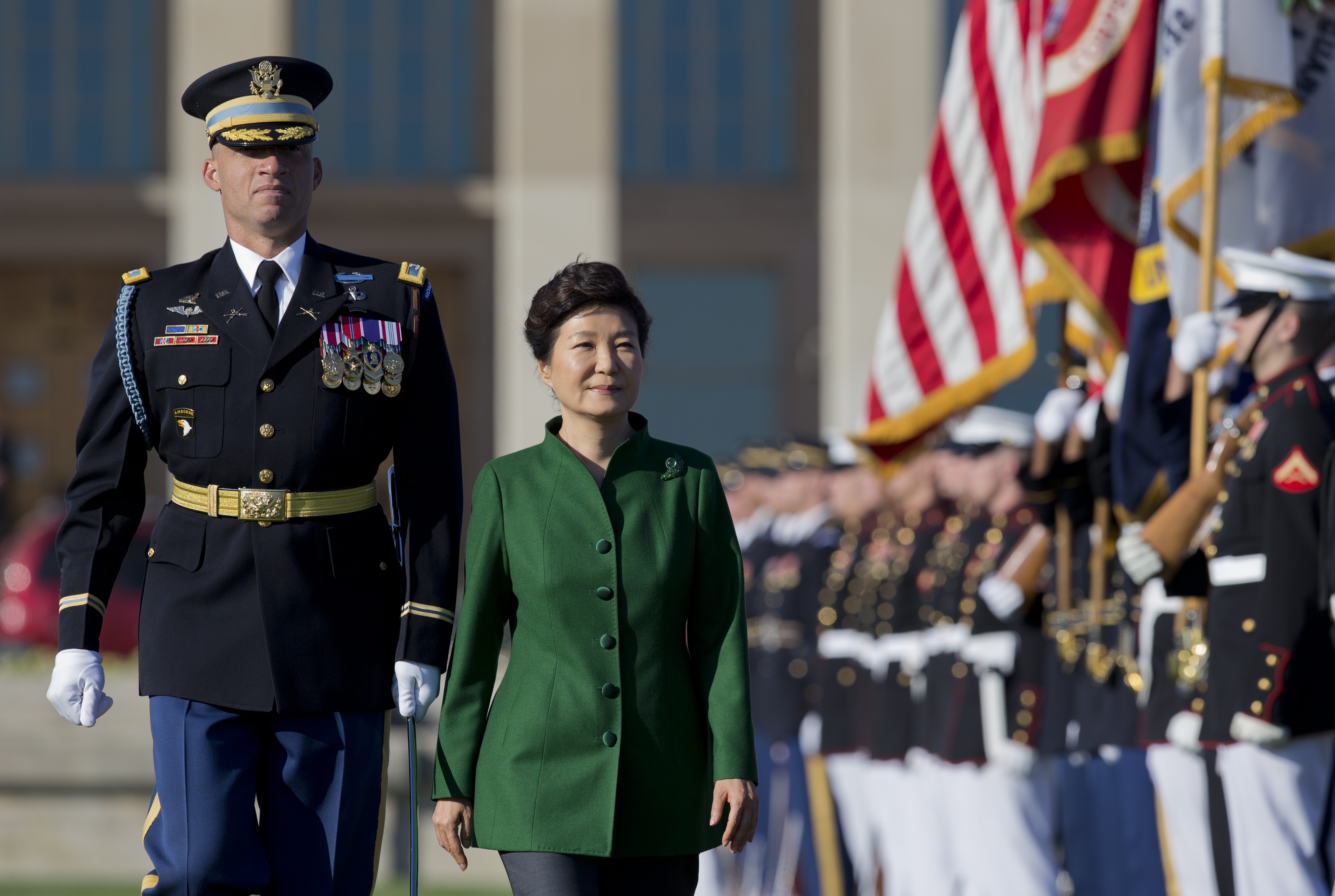 South Korean President Park Geun-hye second form left, reviews the troops during a full military honors parade to welcome her, Oct. 15, 2015, at the Pentagon.