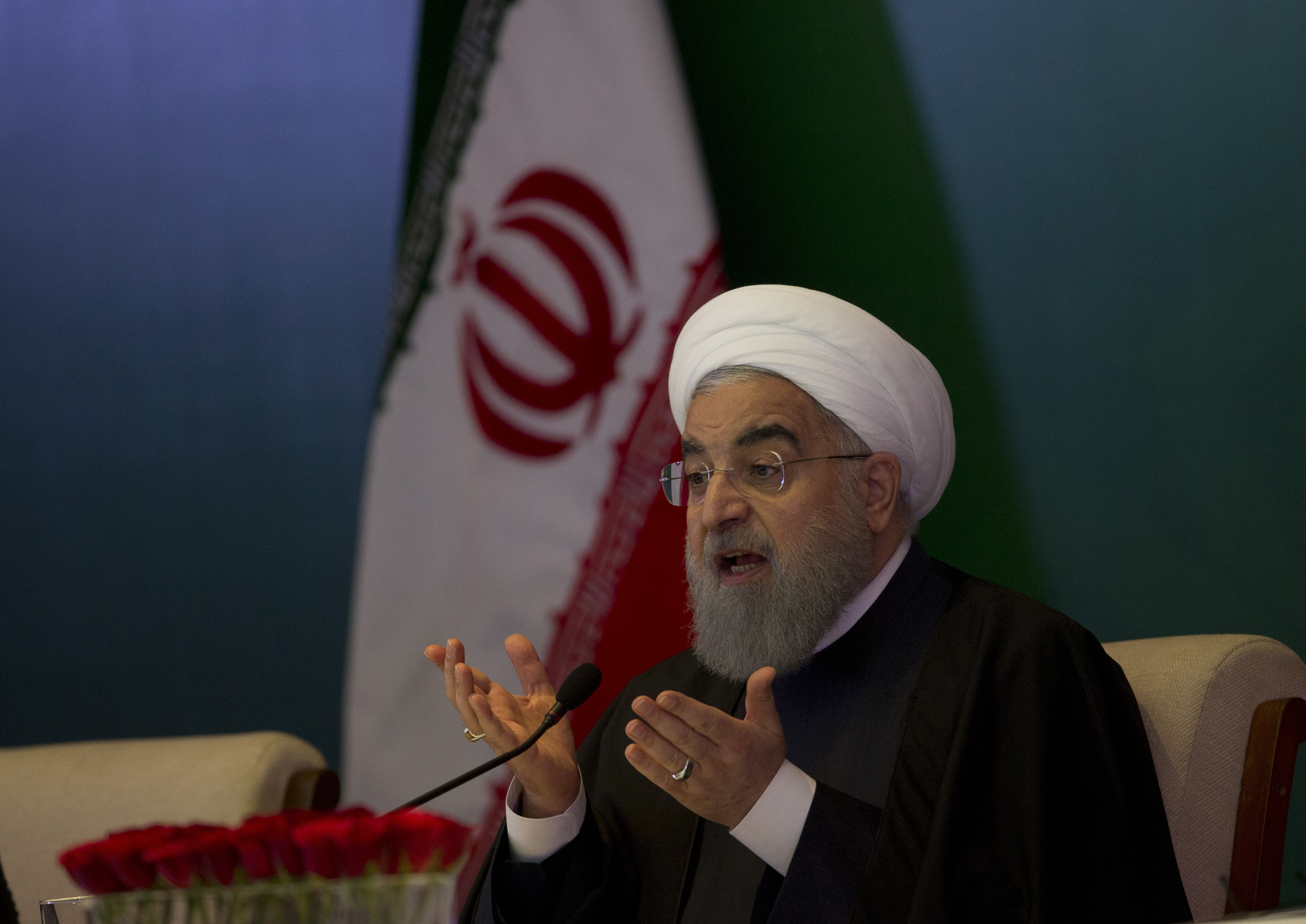 FILE - Iranian President Hassan Rouhani speaks during a meeting with Muslims leaders and scholars in Hyderabad, India, Feb. 15, 2018.