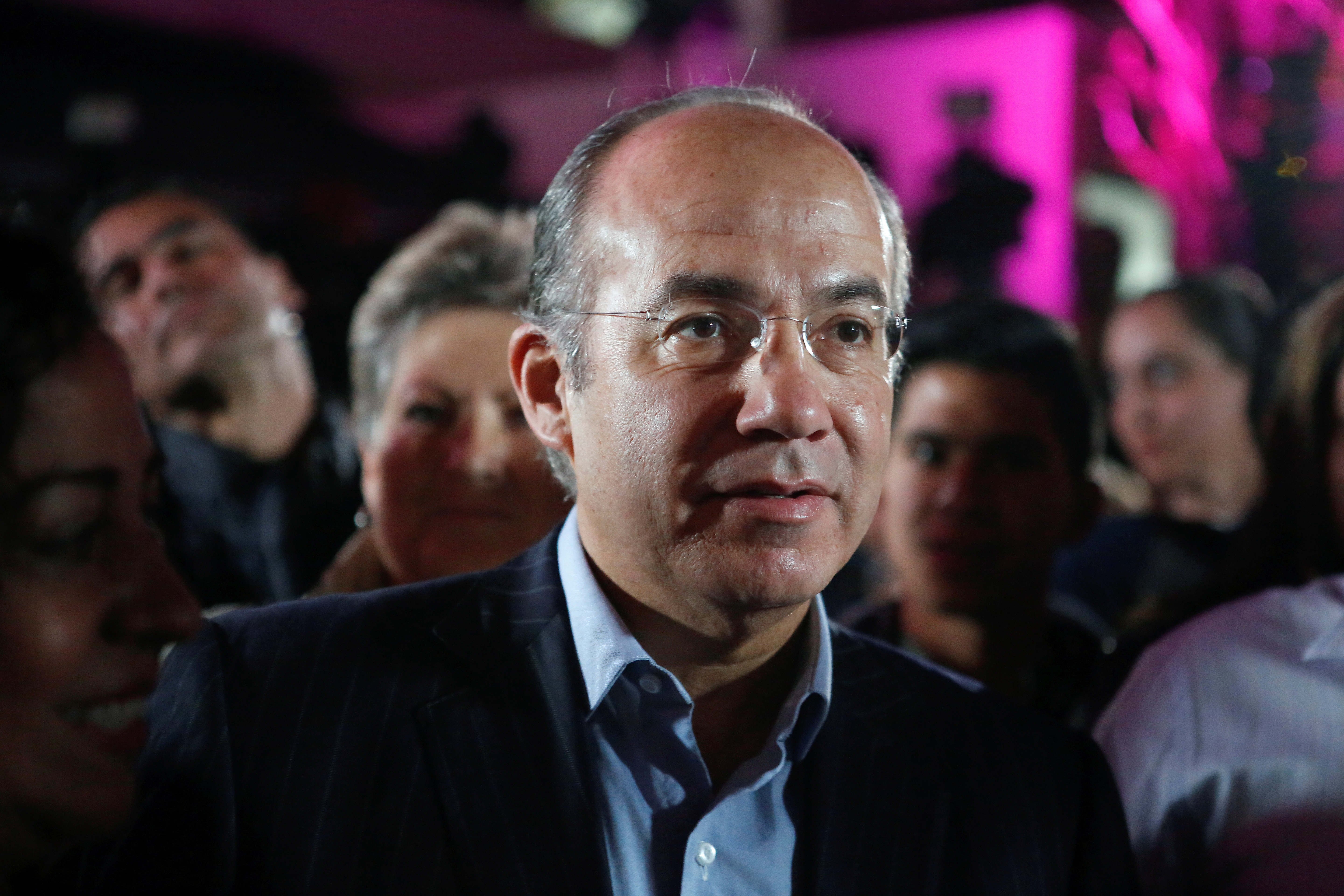 FILE - Former Mexican president Felipe Calderon attends an event where his wife Margarita Zavala, presidential independent pre-candidate, thanks her campaign staff for helping her to collect citizen's signatures for the electoral authority to become ...