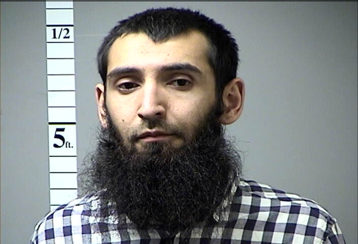 Sayfullo Saipov, the suspect in the New York City truck attack is seen in this handout photo released, Nov. 1, 2017, by St. Charles County Department of Corrections.