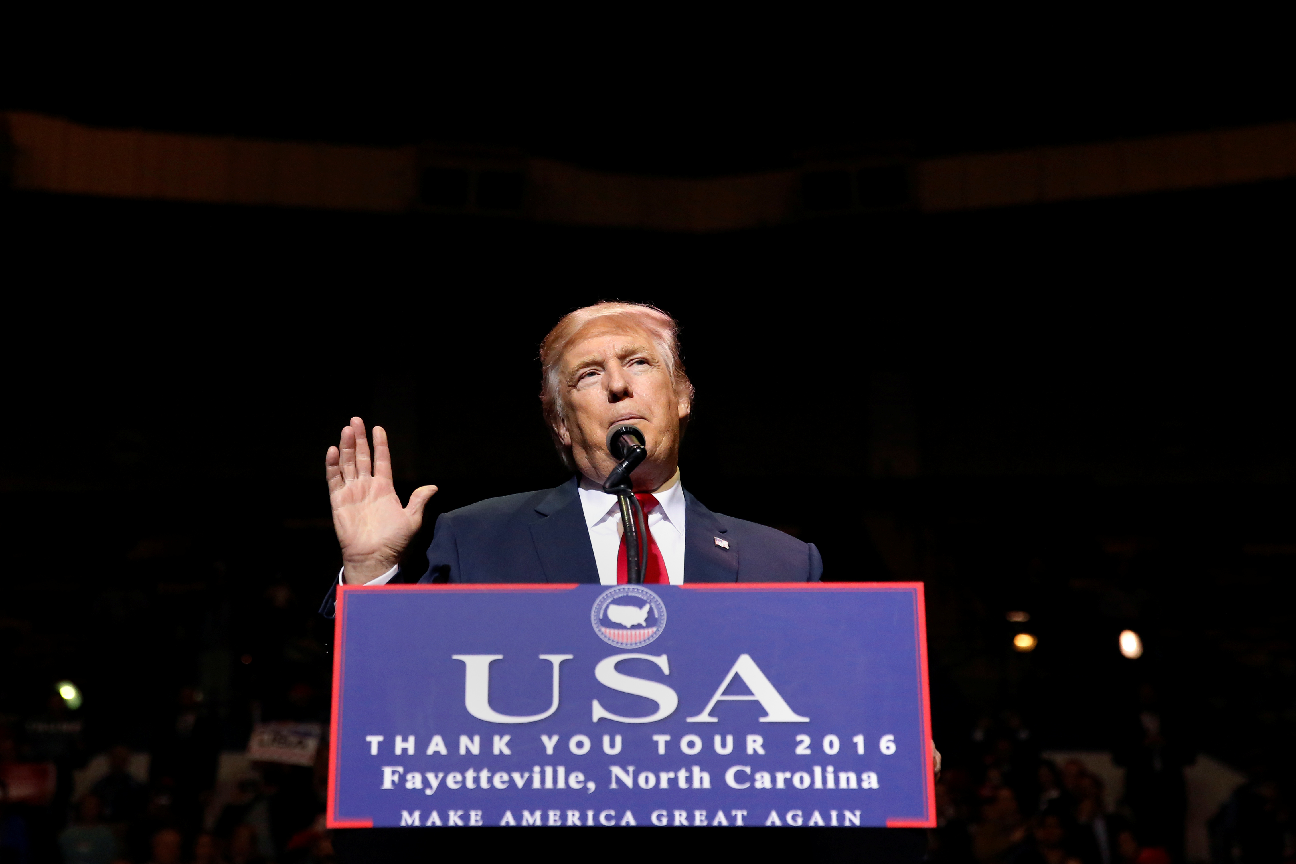 U.S. President-elect Donald Trump speaks at a USA Thank You Tour event at Crown Coliseum in Fayetteville, North Carolina, U.S., Dec. 6, 2016.
