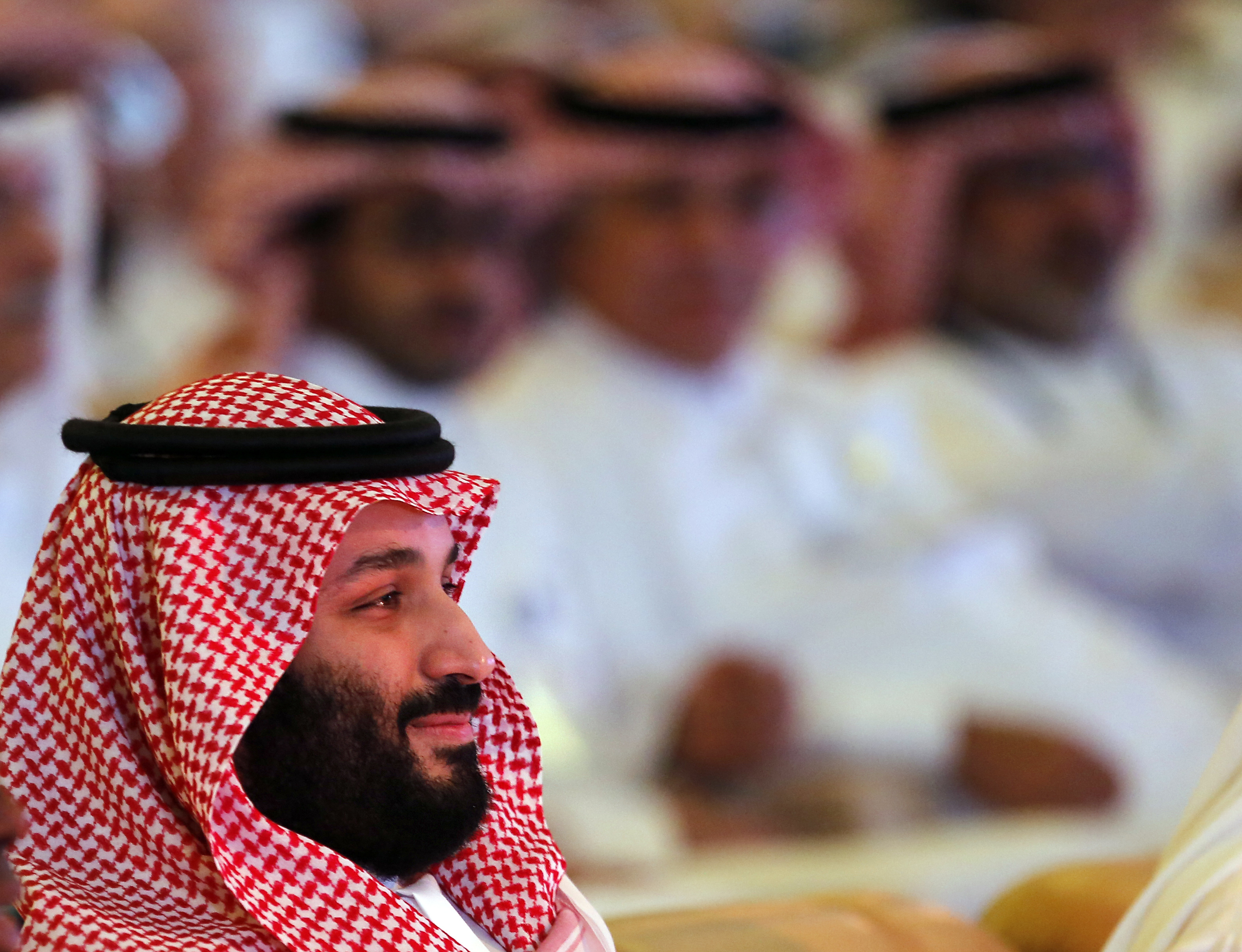 Saudi Crown Prince Mohammed bin Salman attends the second day of the Future Investment Initiative conference, in Riyadh, Saudi Arabia, Oct. 24, 2018. The Crown Prince's comments at the summit were his first since the killing earlier in the month of W...