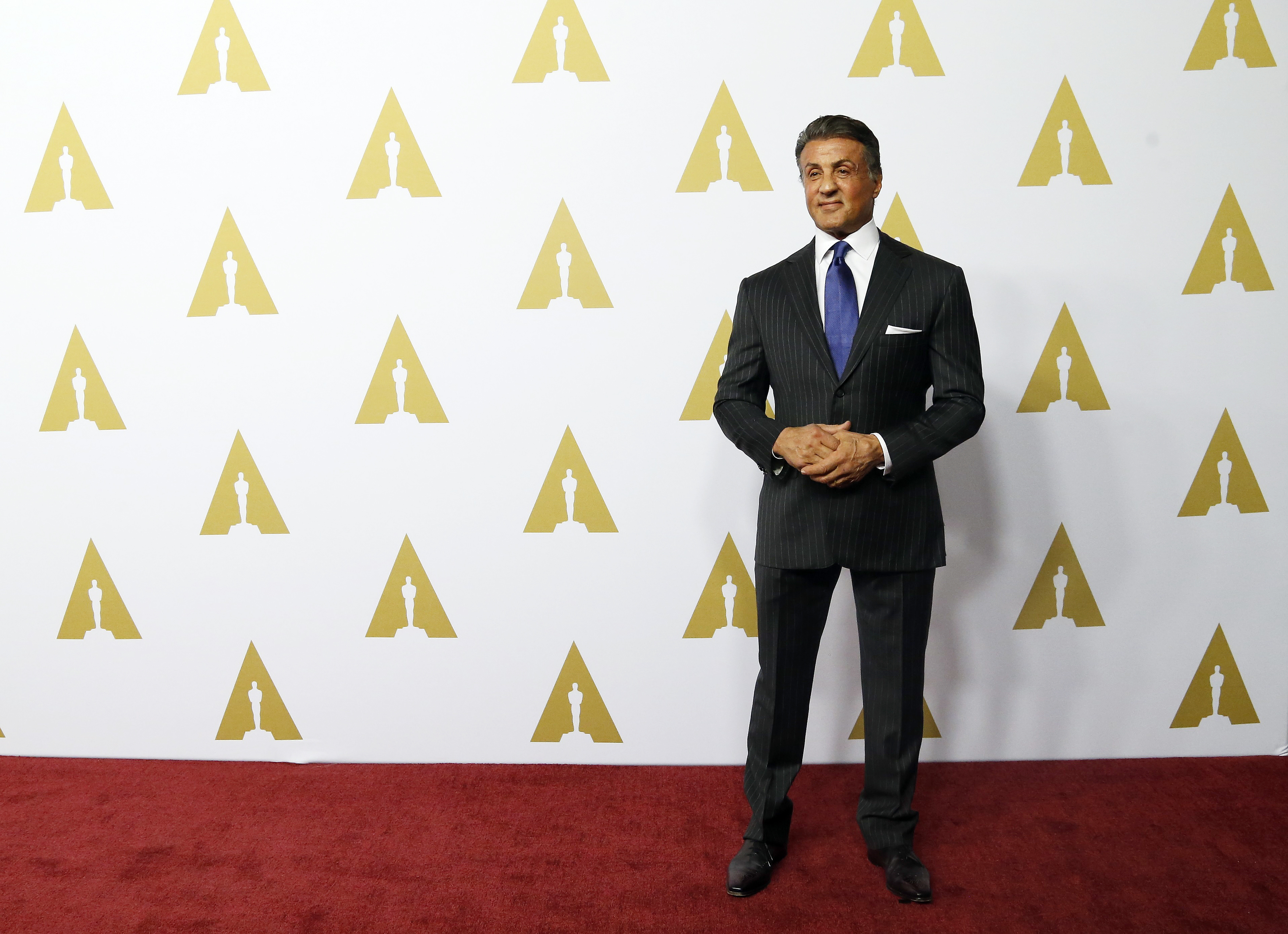 Actor Slyvester Stallone arrives at the 88th Academy Awards nominees luncheon in Beverly Hills, California, Feb. 8, 2016.
