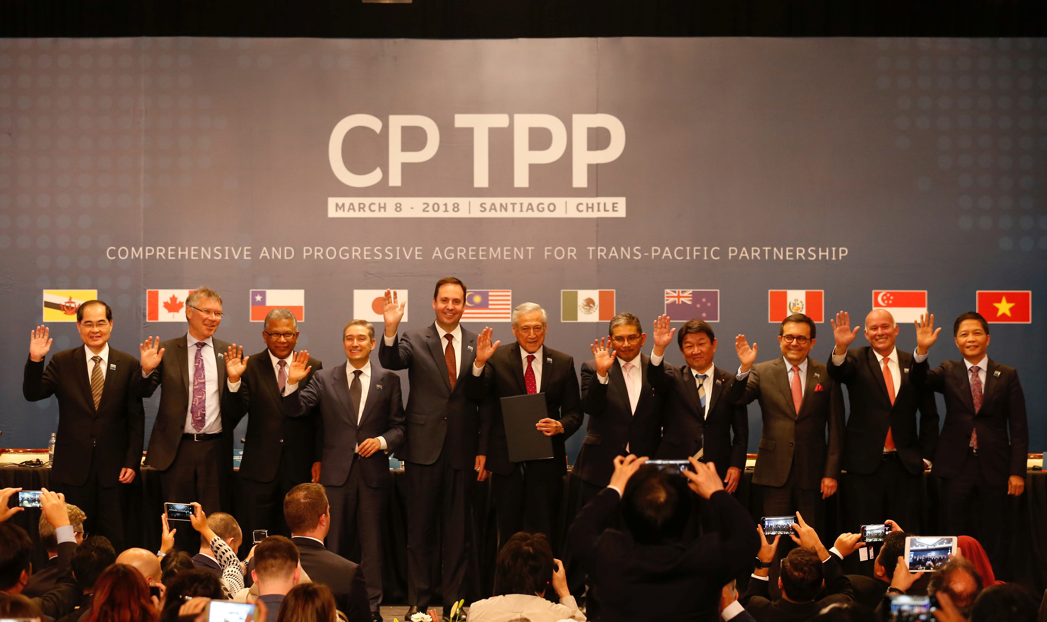 Representatives of members of Trans-Pacific Partnership (TPP) trade deal: Brunei's Acting Minister for Foreign Affairs Erywan Dato Pehin, Chile's Foreign Minister Heraldo Munoz, Australia's Trade Minister Steven Ciobo, Canada's International Trade Mi...