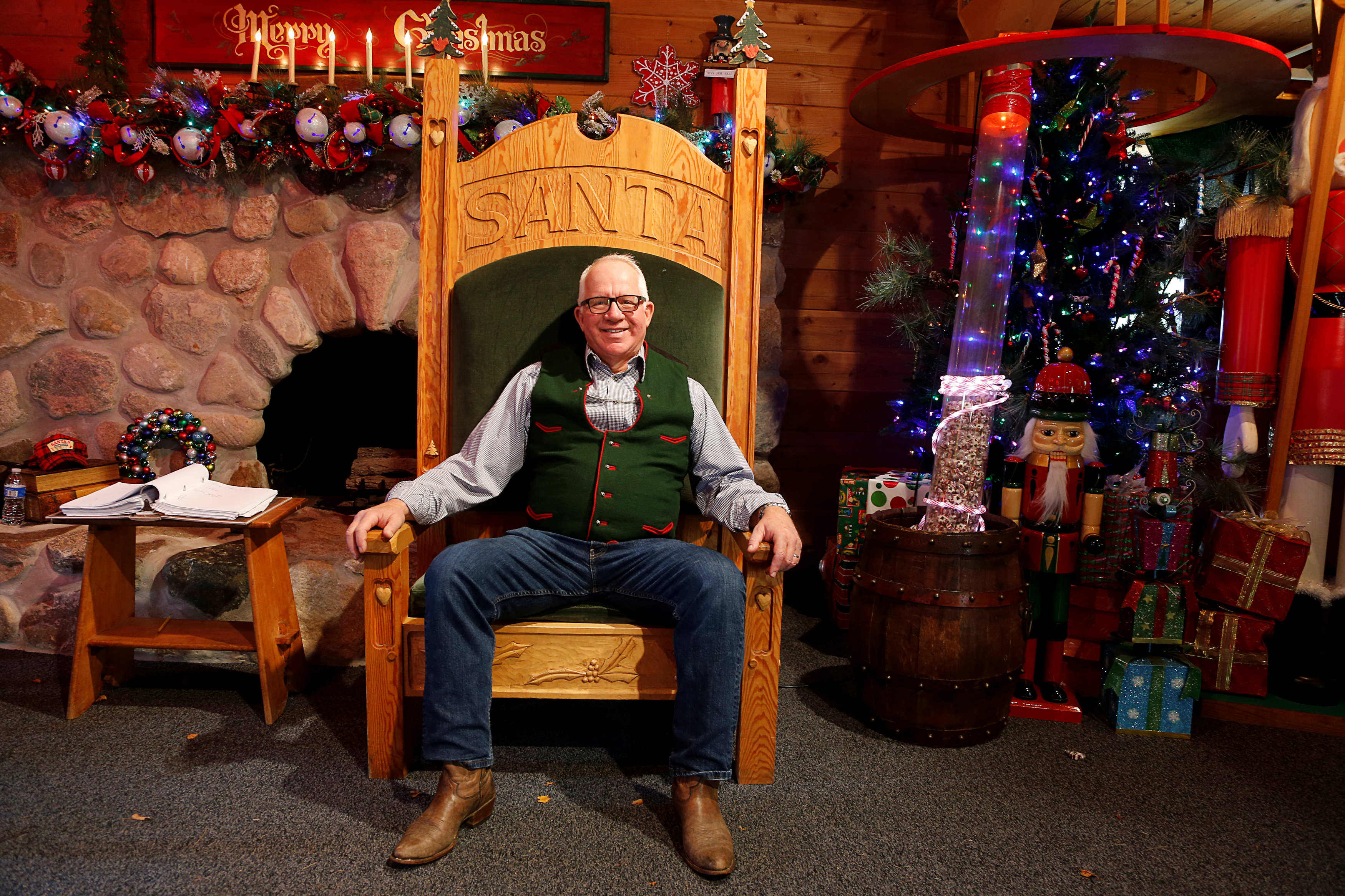 Thomas Valent, dean of the Charles W. Howard Santa Claus School, sits in the Santa House in Midland, Michigan, Oct. 29, 2016.