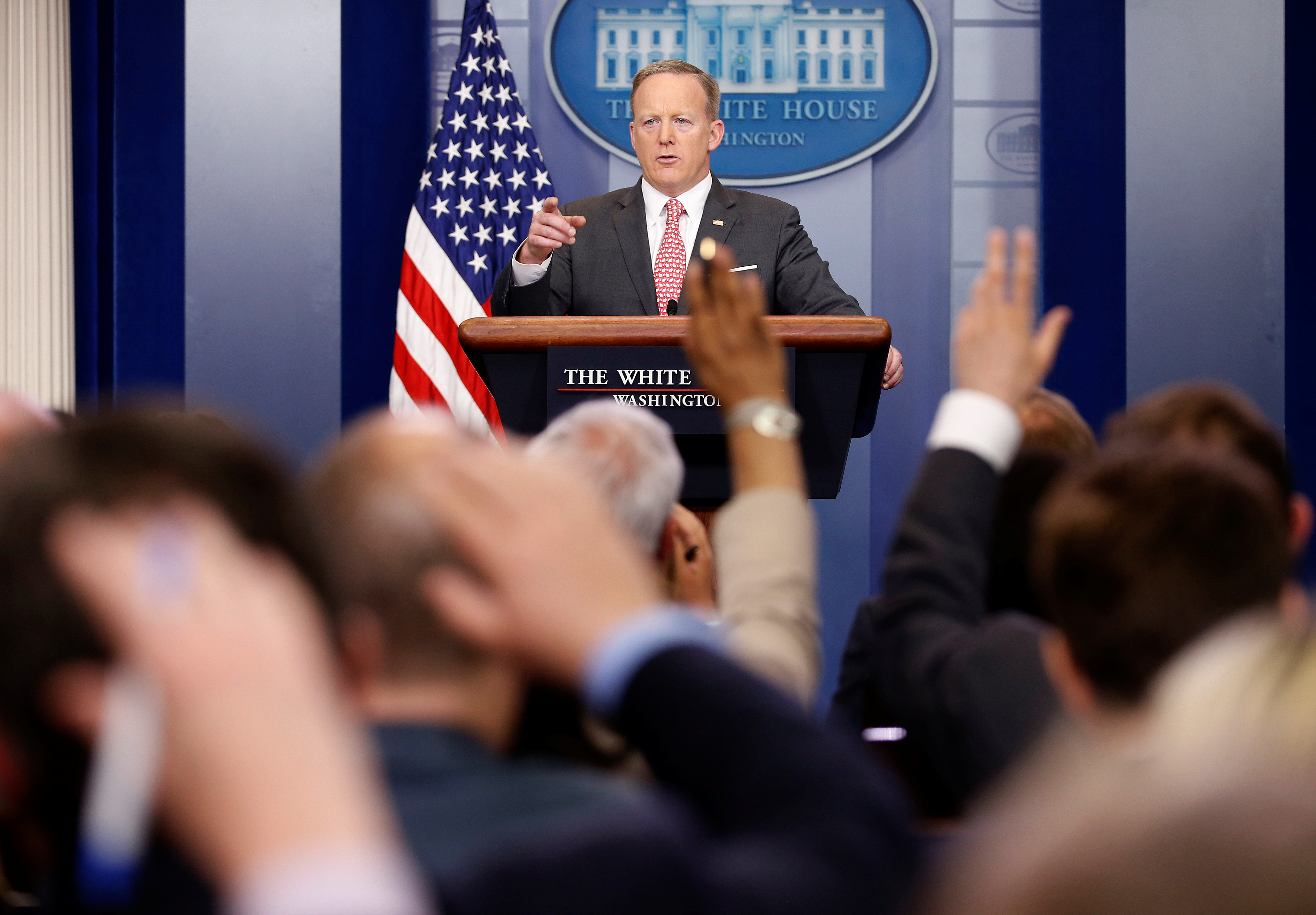 White House Press Secretary Sean Spicer takes a question during a press briefing at the White House in Washington, April 17, 2017.