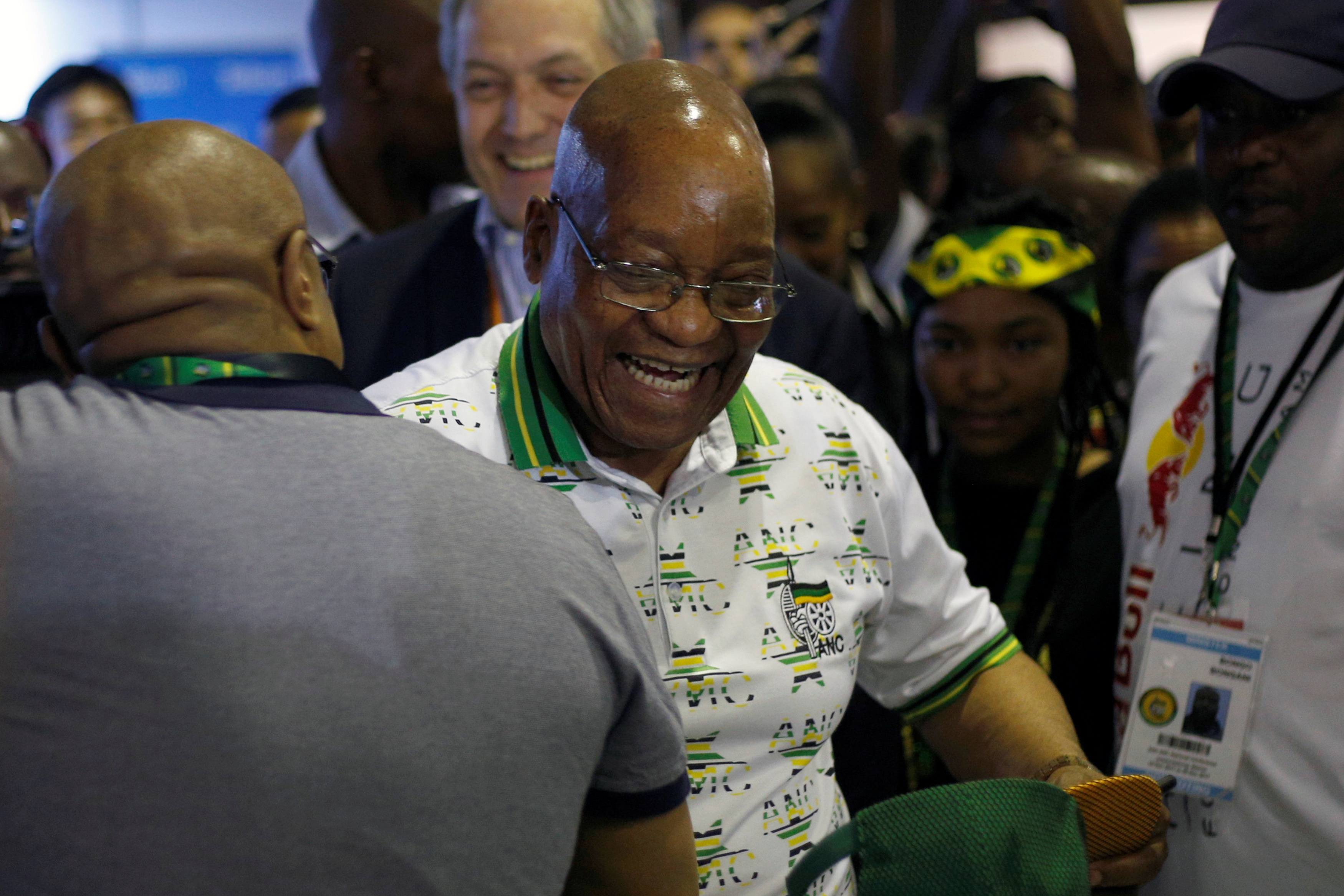 South Africa's President Jacob Zuma reacts during a tour of the Nasrec Expo Center where the 54th National Conference of the ruling African National Congress (ANC) is taking place in Johannesburg, South Africa, Dec. 18, 2017.