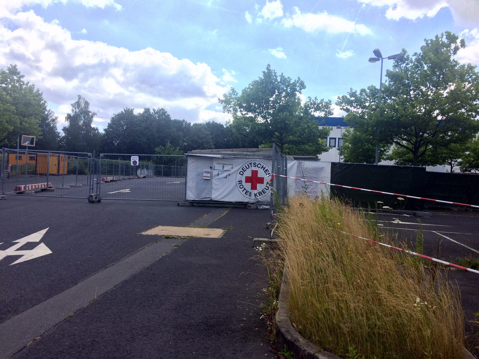 Like many large camps, this one has been closed in recent months as the flow of refugees has been nearly-halted by closed borders.  But late last year, this camp outside of Dresden, Germany was attacked with rocks and gunfire, July 7, 2016.  (H. Murd...