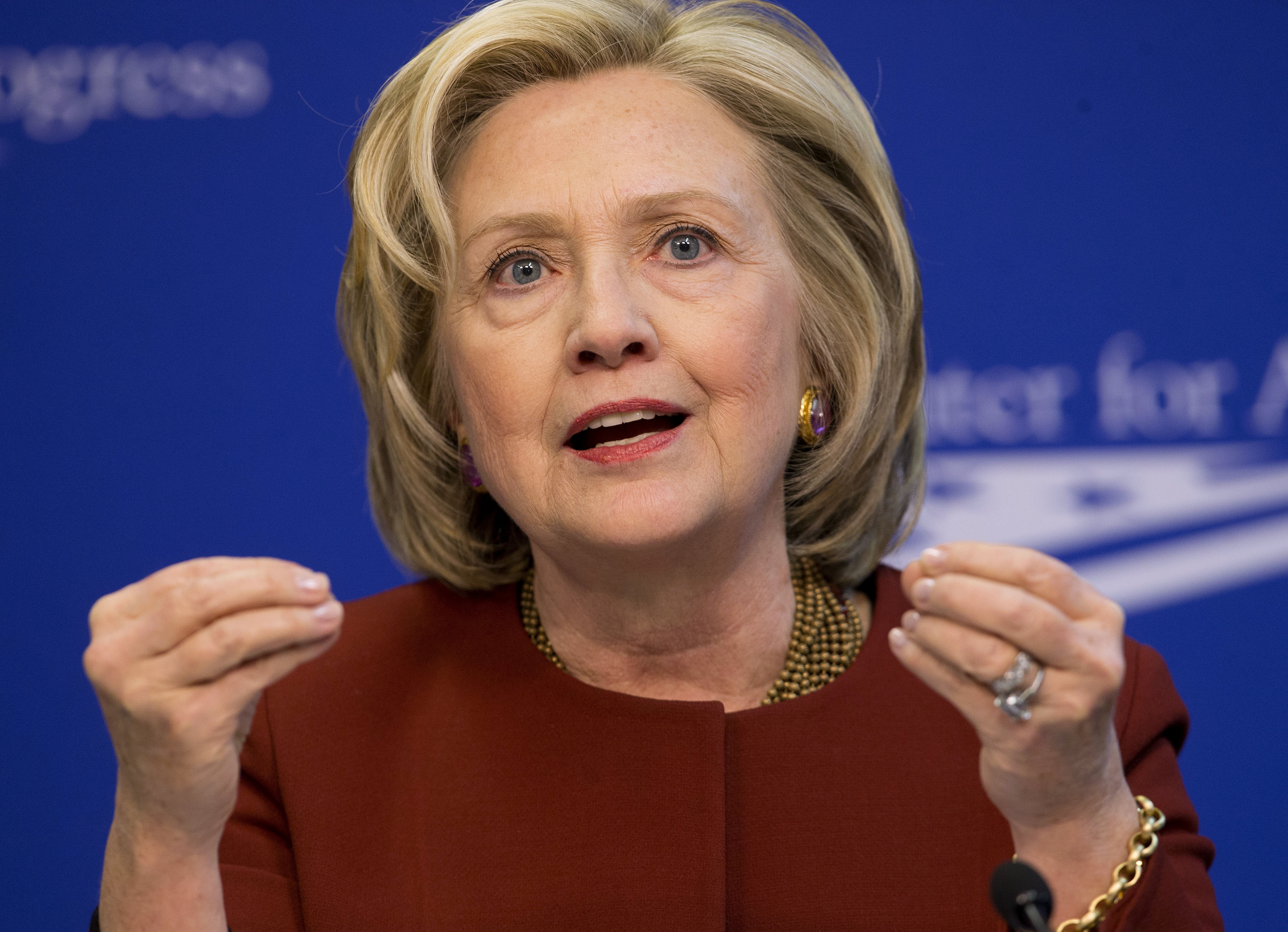 FILE - Former Secretary of State Hillary Rodham Clinton speaks at an event March 23, 2015.