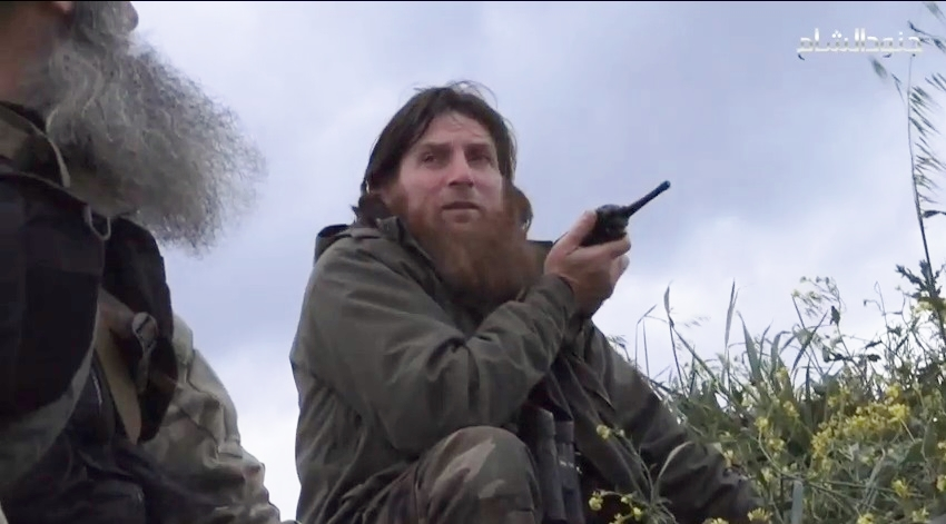 Screengrab from a YouTube video showing one the most prominent and recognizable foreign fighters in Syria, Chechen Muslim Shishani, leader of the Islamist Junud Ash Sham group, at Jisr ash-Shugur, April 21, 2015.