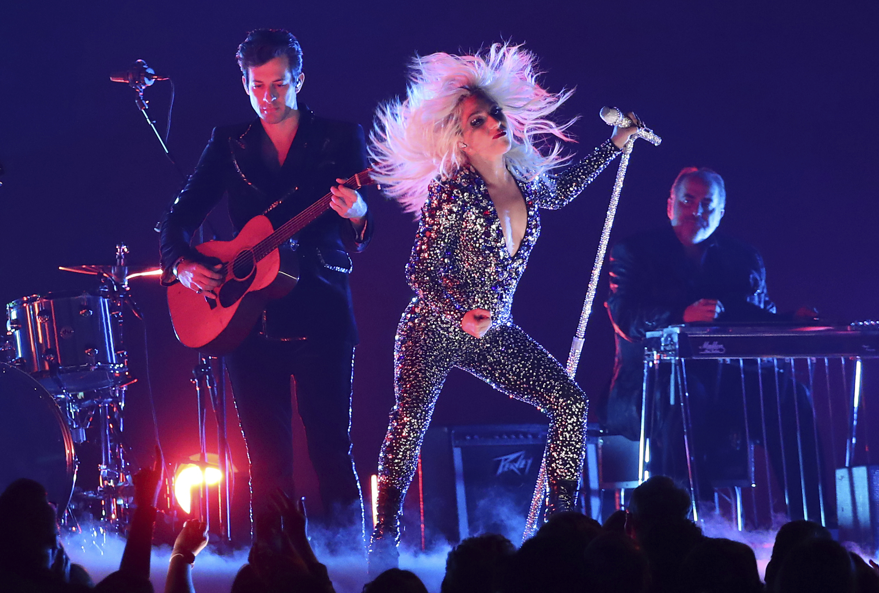 """Lady Gaga, right, and Mark Ronson perform """"Shallow"""" at the 61st annual Grammy Awards on Sunday, Feb. 10, 2019, in Los Angeles."""