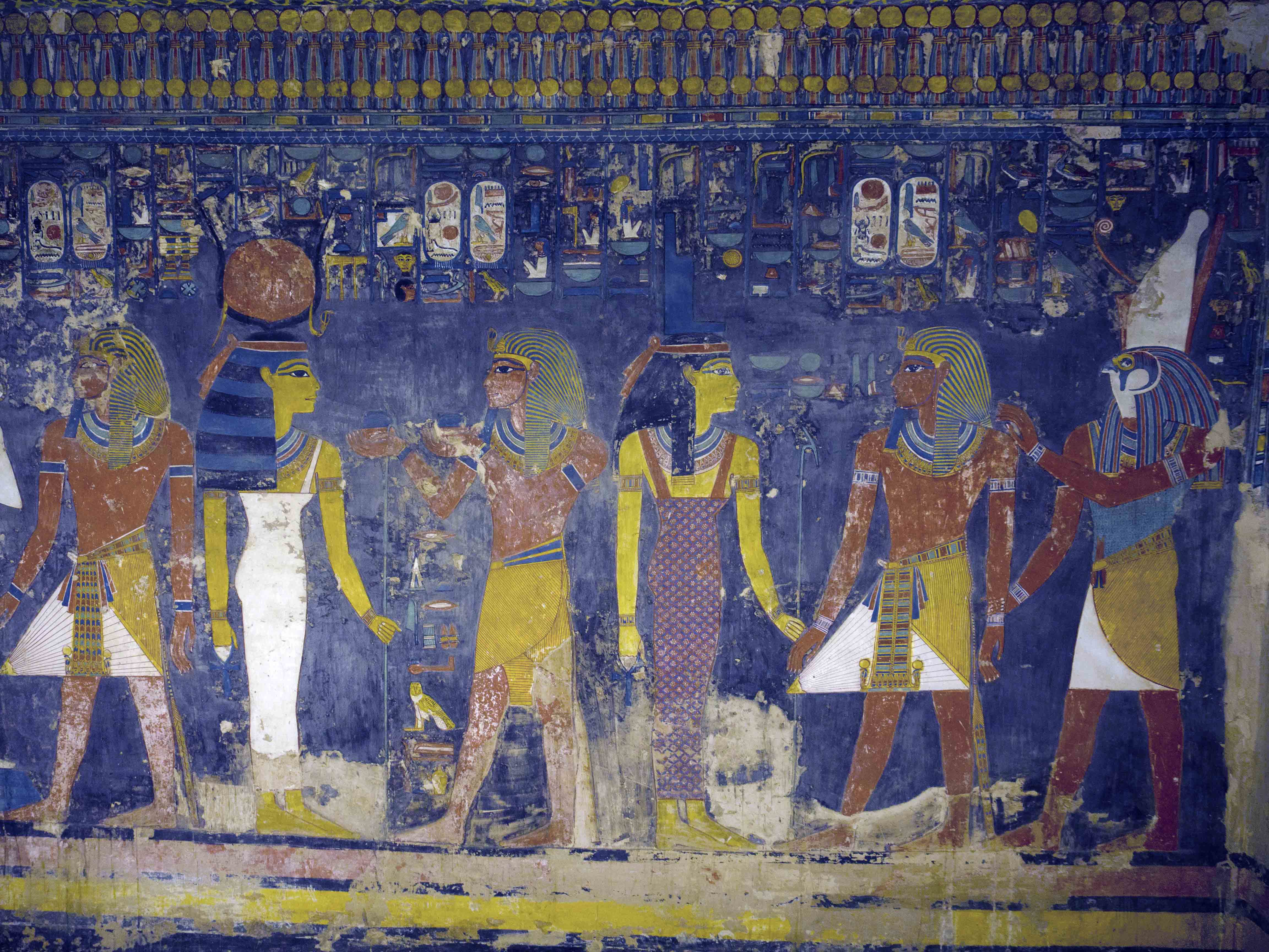 Pharonic-era mural inside the tomb of an ancient king, reopened after five years of restoration, Luxor, Egypt, Nov. 5, 2015. (H. Elrasam/VOA)