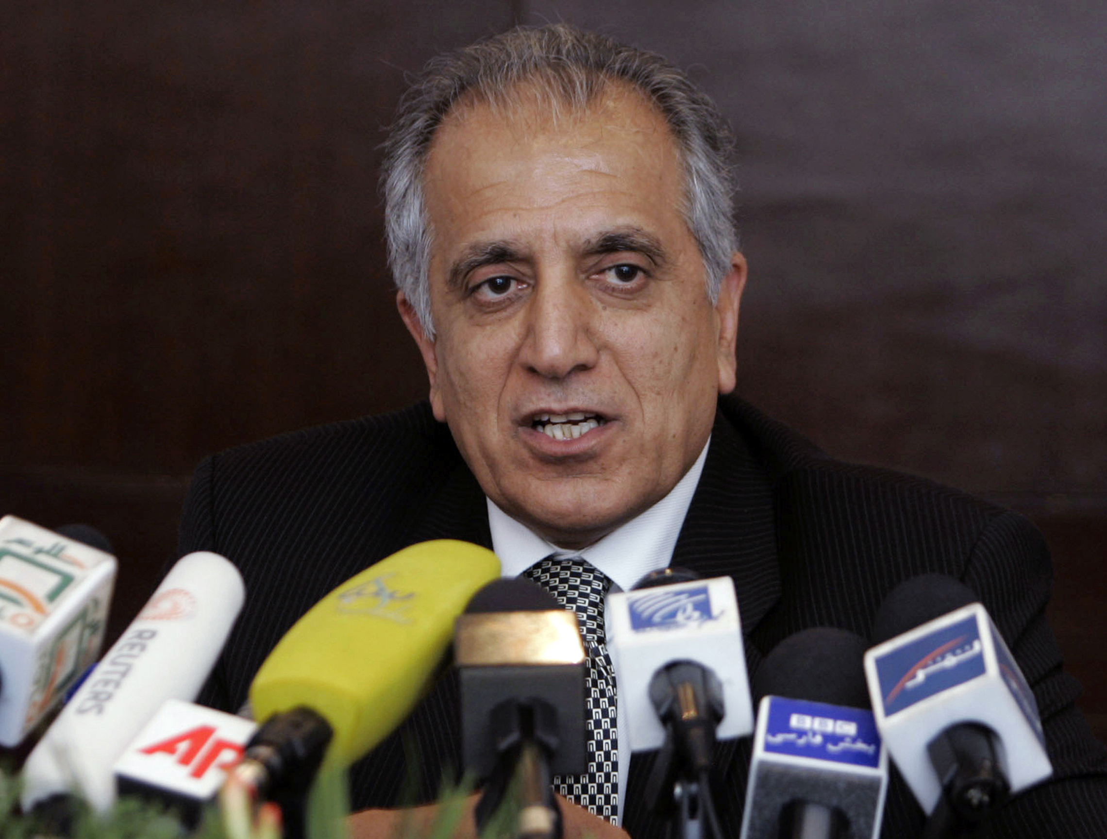 FILE - Zalmay Khalilzad, special adviser on reconciliation, speaks during a news conference in Kabul, Afghanistan, March 13, 2009. Abdul Ghani Baradar, a co-founder of the Taliban has been appointed head of the group's political office in Qatar as ...