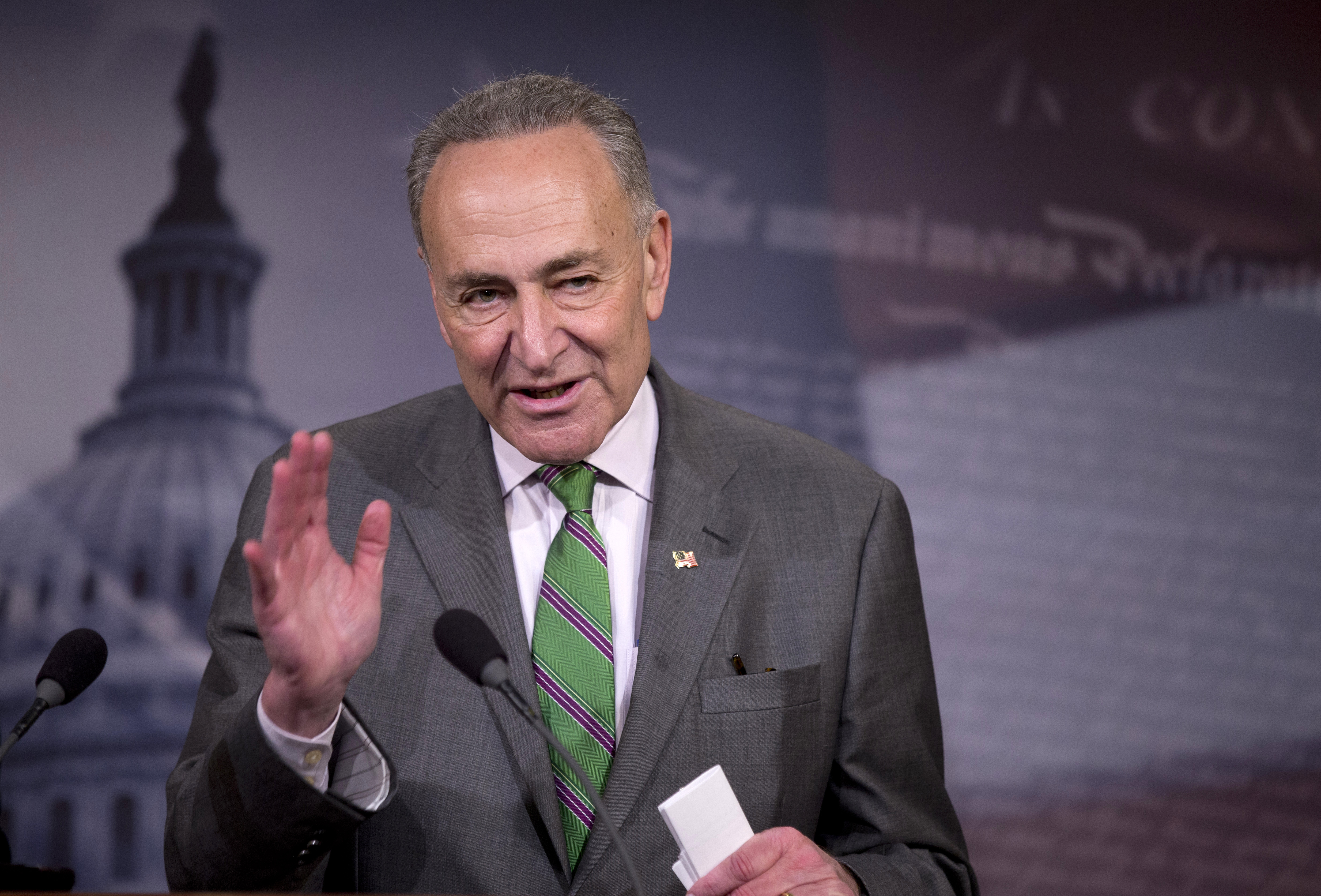 Senator Charles Schumer speaks to reporters on Capitol Hill about the Supreme Court decision on campaign financing, April 2, 2014.