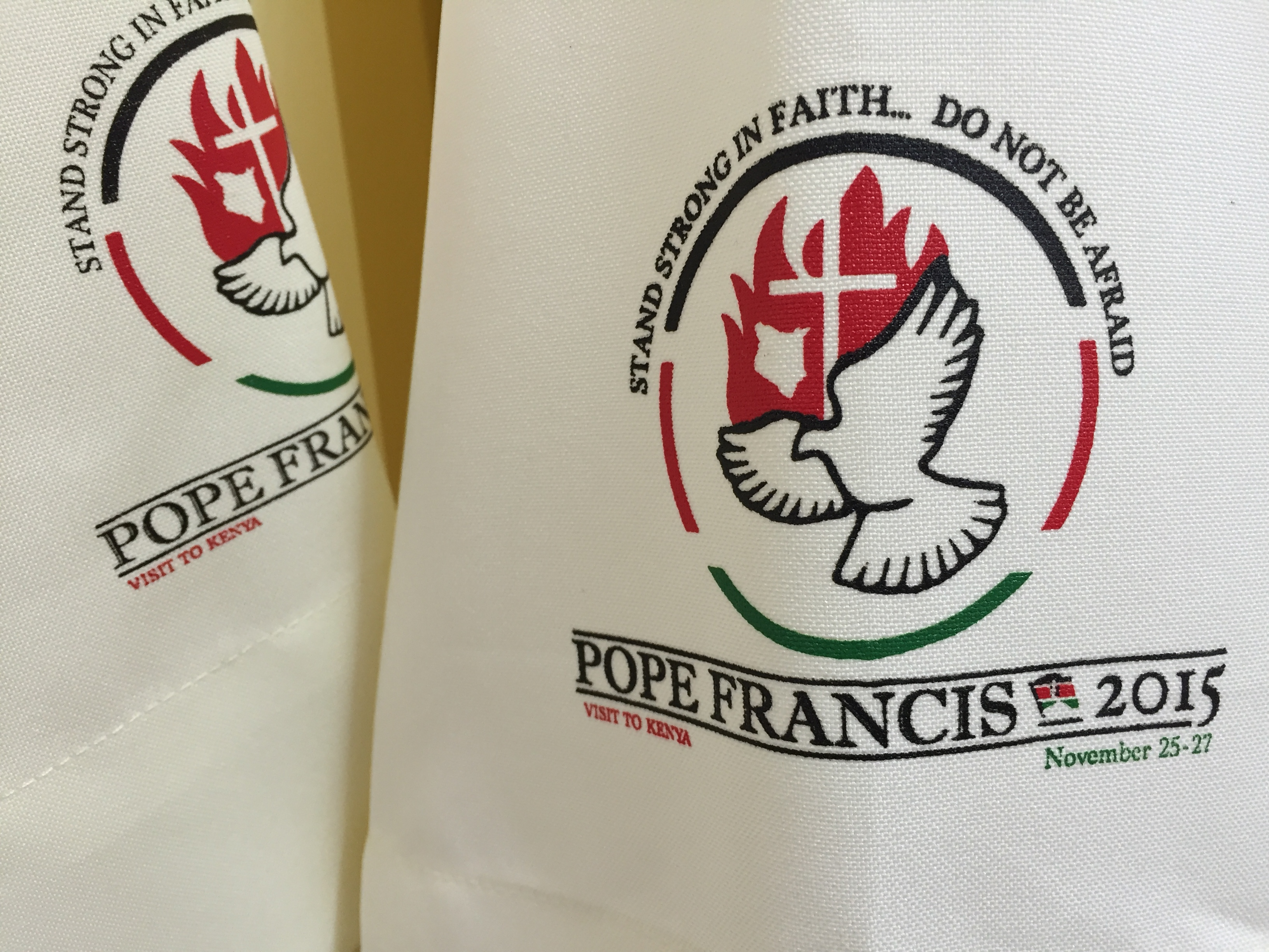 Officially branded alb to be presented to priests, bishops, and other church officials during Pope Francis's upcoming visit to Nairobi, Kenya, Nov. 12, 2015.