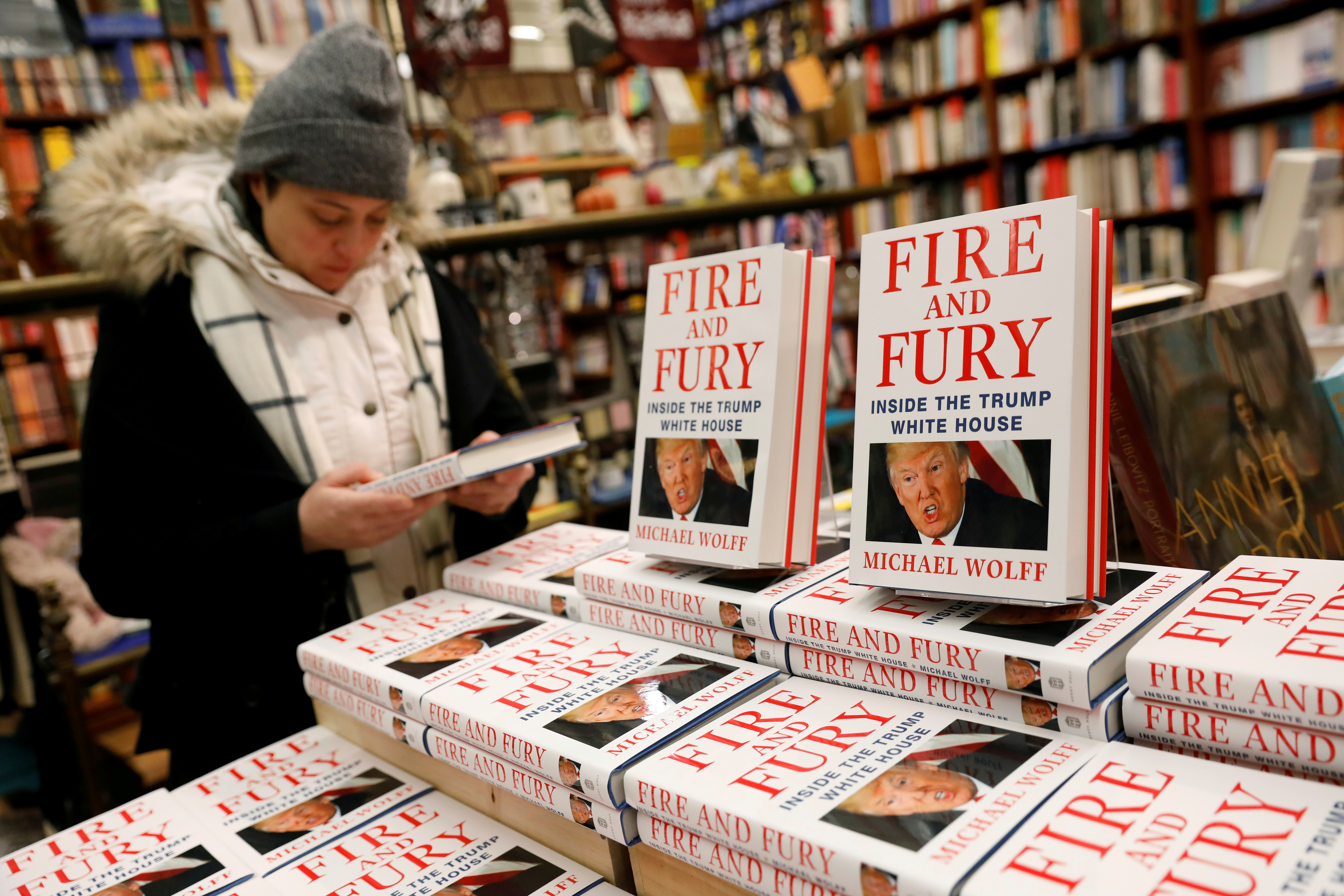 "Copies of the book ""Fire and Fury: Inside the Trump White House"" by author Michael Wolff are seen at the Book Culture bookstore in New York, Jan. 5, 2018."