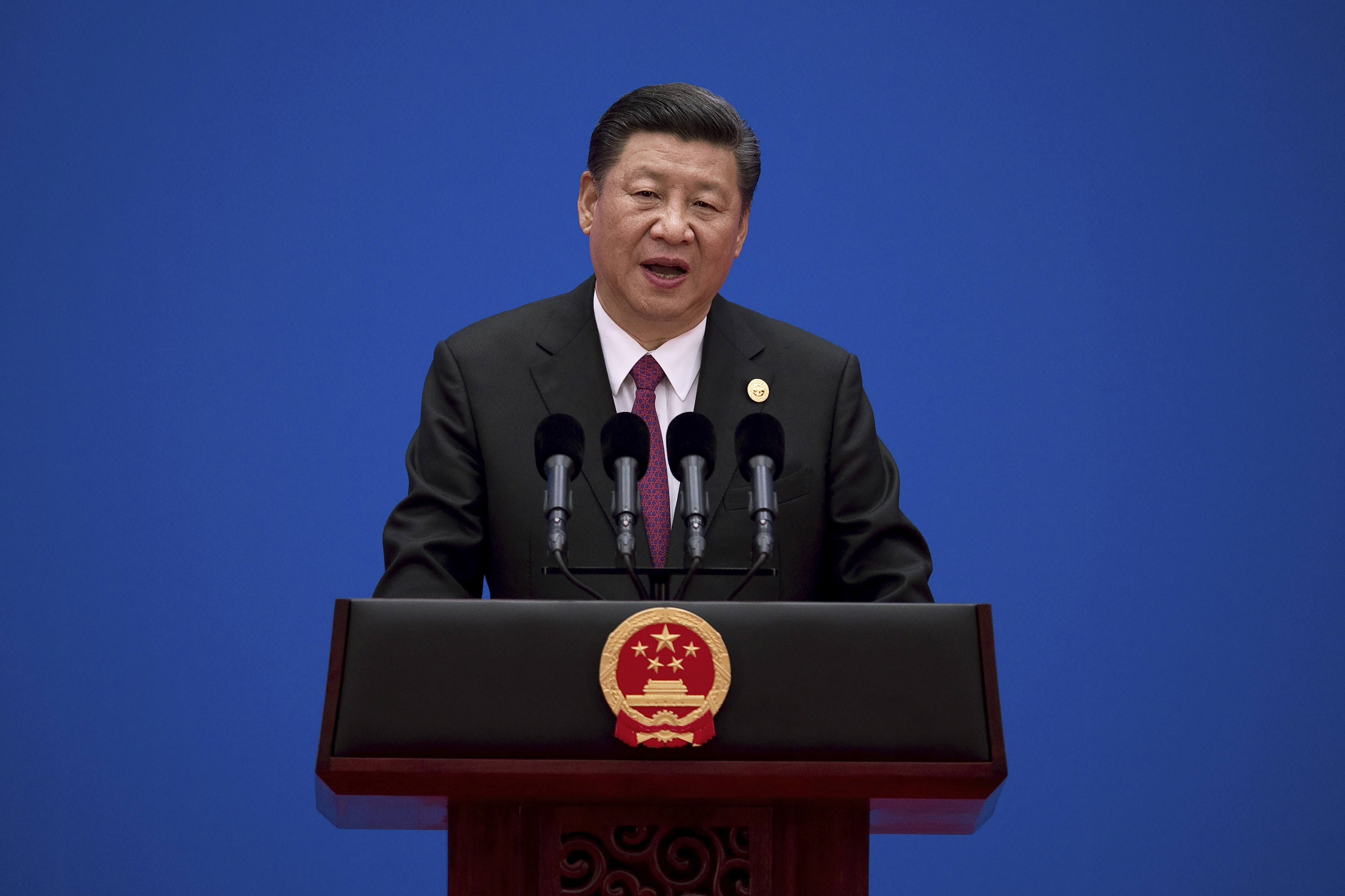 Chinese President Xi Jinping speaks during a news conference at the end of the Belt and Road Forum at the Yanqi Lake International Conference Center, north of Beijing, May 15, 2017.