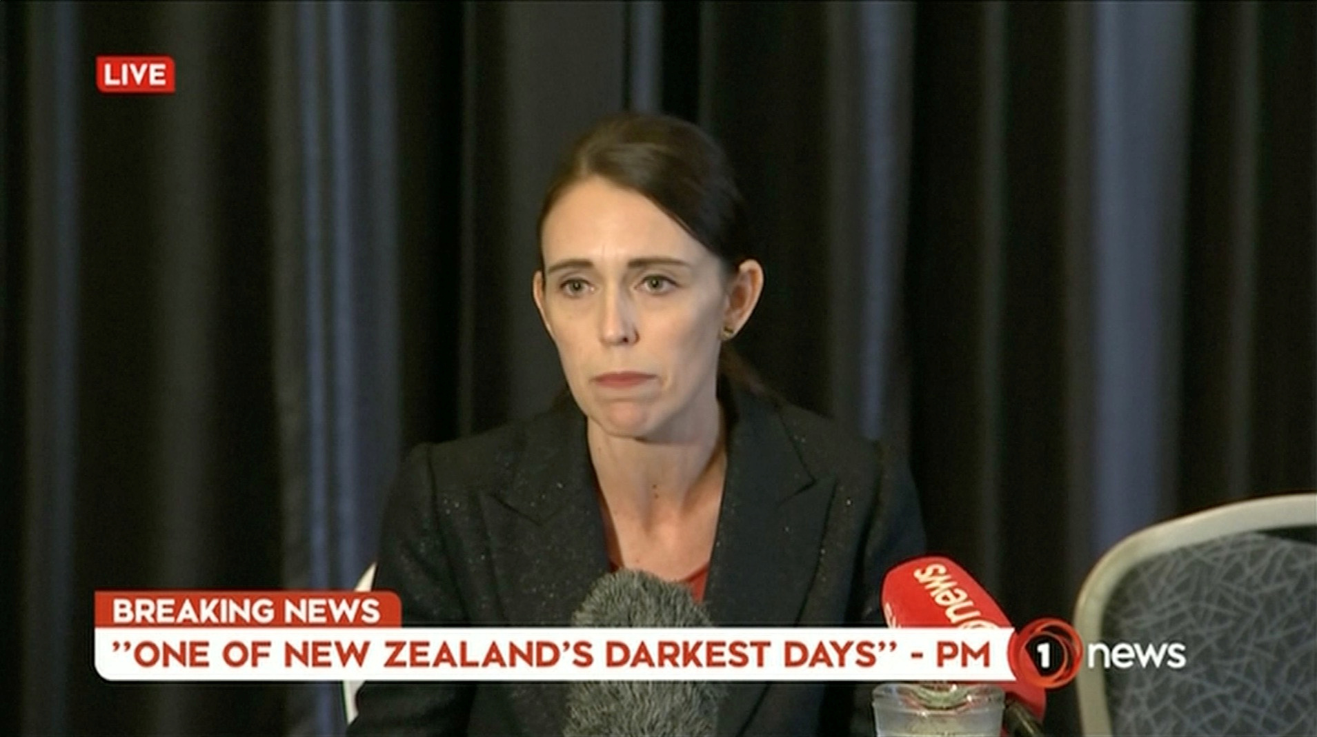 New Zealand's Prime Minister Jacinda Ardern speaks on live television following fatal shootings at two mosques in central Christchurch, New Zealand, March 15, 2019.