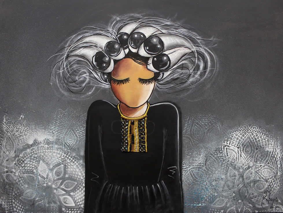 Hassani usually uses the same woman character with closed eyes and without a mouth as symbols of the challenges faced by women in Afghanistan.