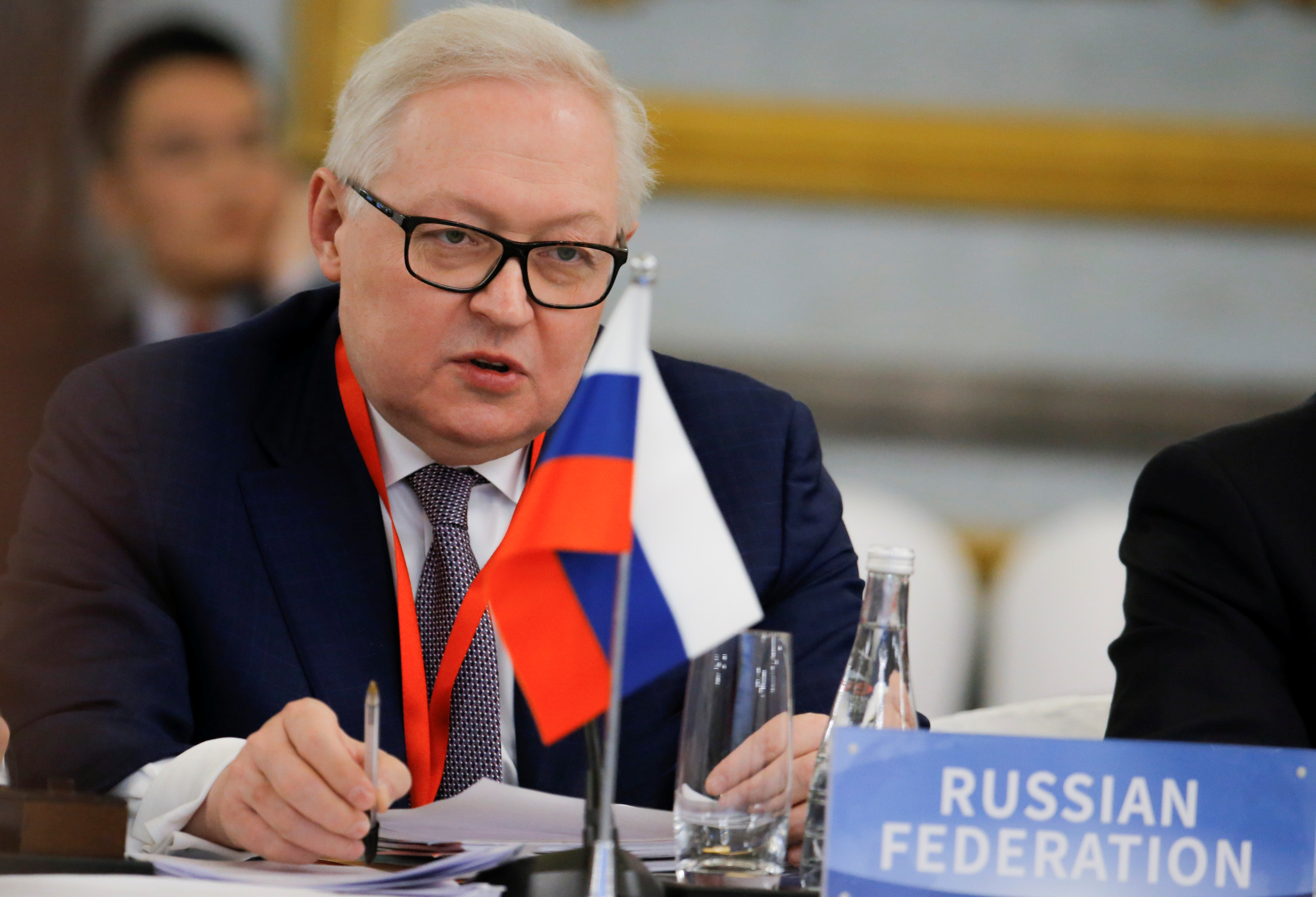 FILE - Russian Deputy Foreign Minister Sergey Ryabkov speaks at a conference on nonproliferation of nuclear weapons in Beijing, Jan. 30, 2019.