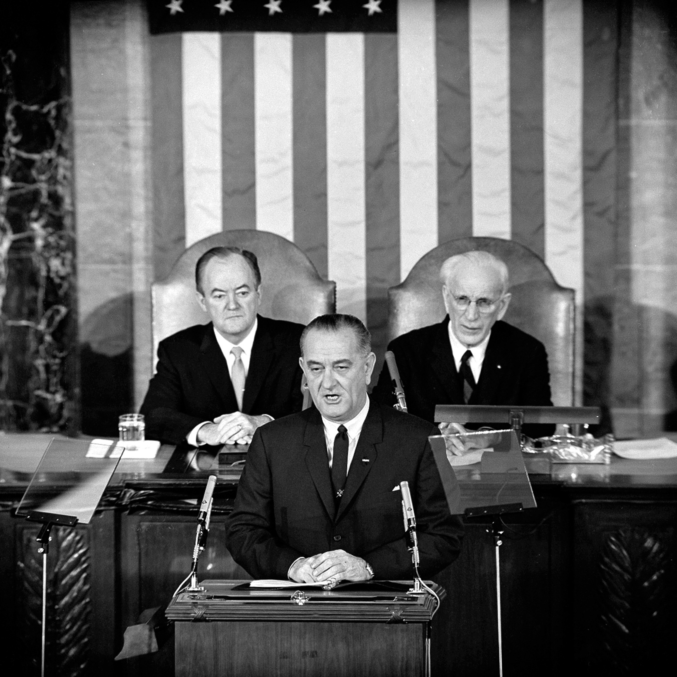 In this March 15, 1965 file photo, U.S. President Lyndon B. Johnson addresses a joint session of Congress in Washington where he urged the passing of the Voting Rights Act and spoke of his experience as a young teacher in a segregated, Mexican-Ameri...