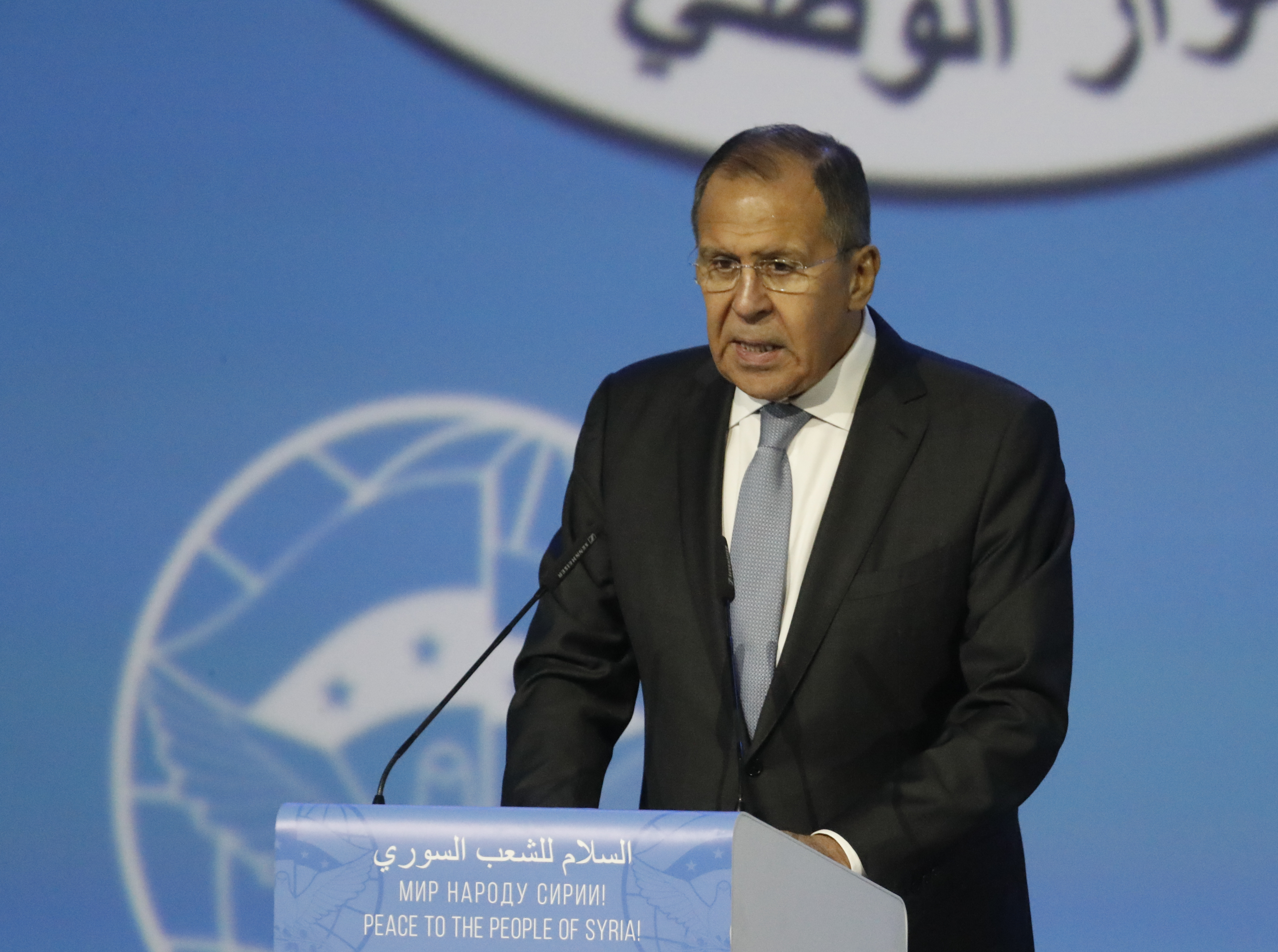 Russian Foreign Minister Sergei Lavrov delivers a speech during a session of the Syrian Congress of National Dialogue in the Black Sea resort of Sochi, Russia, Jan. 30, 2018.