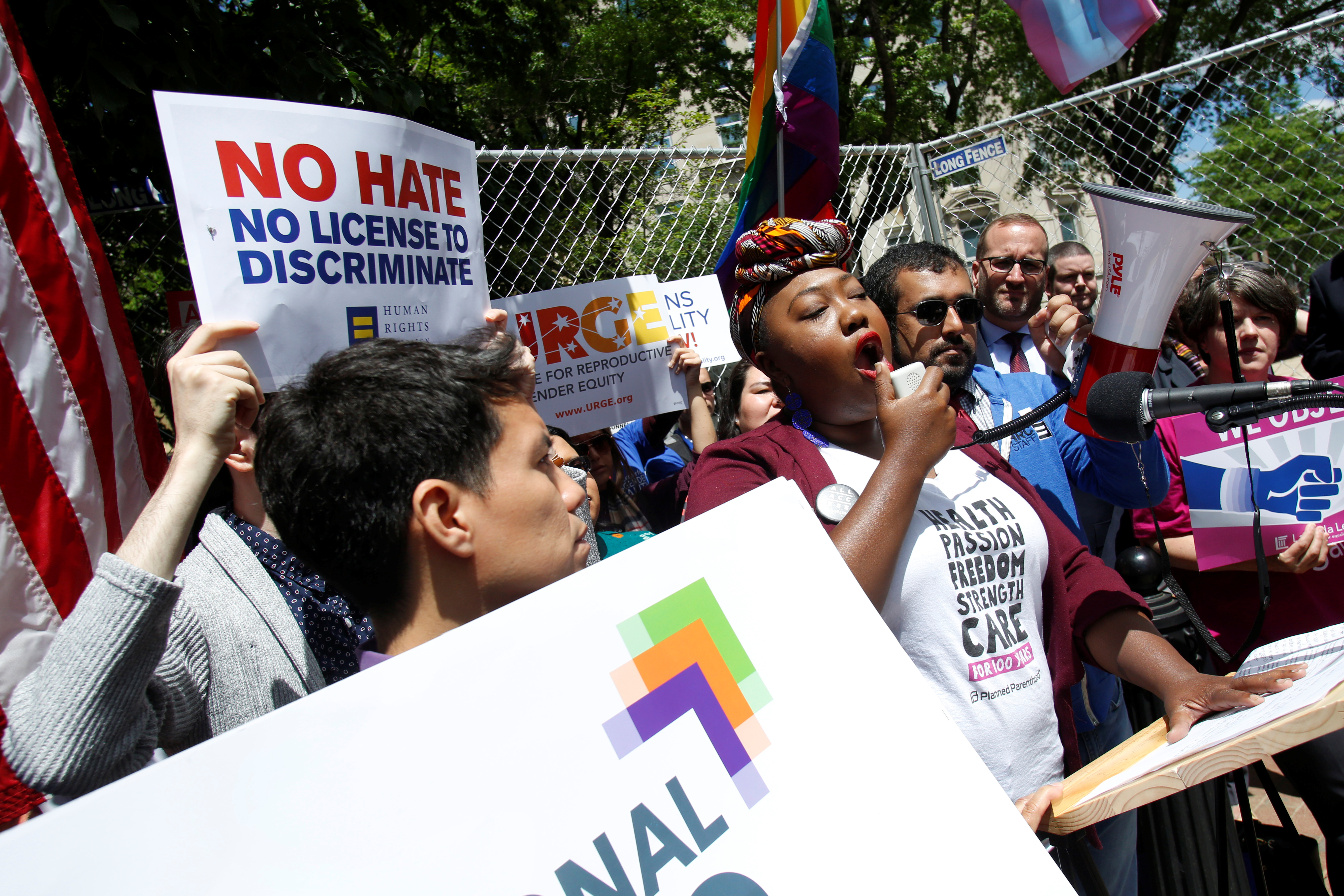 LGBT groups rally to oppose the religious freedom executive order that U.S. President Donald Trump Trump is expected to sign, outside the White House in Washington, May 3, 2017.