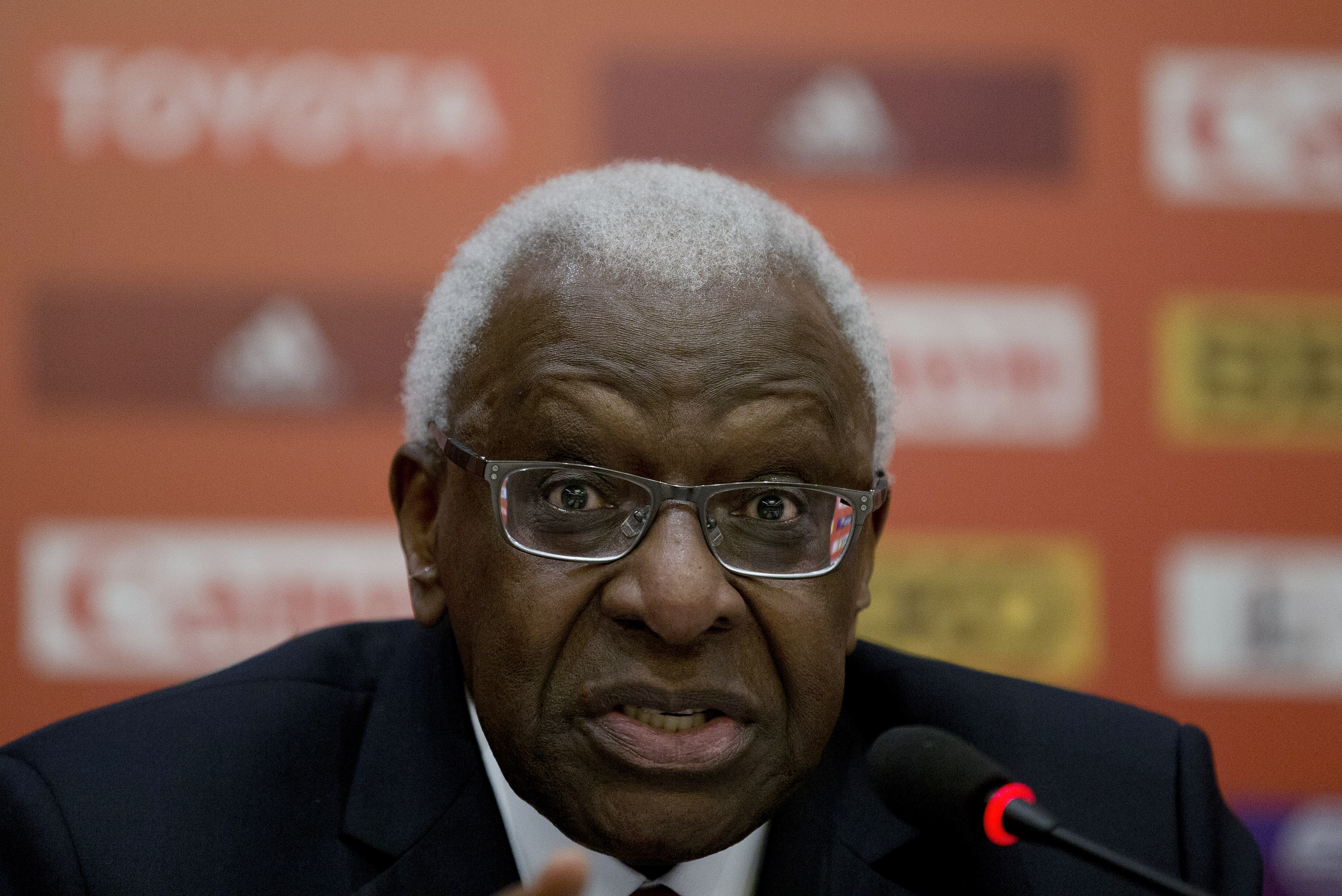 President of the International Association of Athletics Federations Lamine Diack speaks during the press conference at the IAAF Congress at the National Convention Center in Beijing, Aug. 20, 2015.