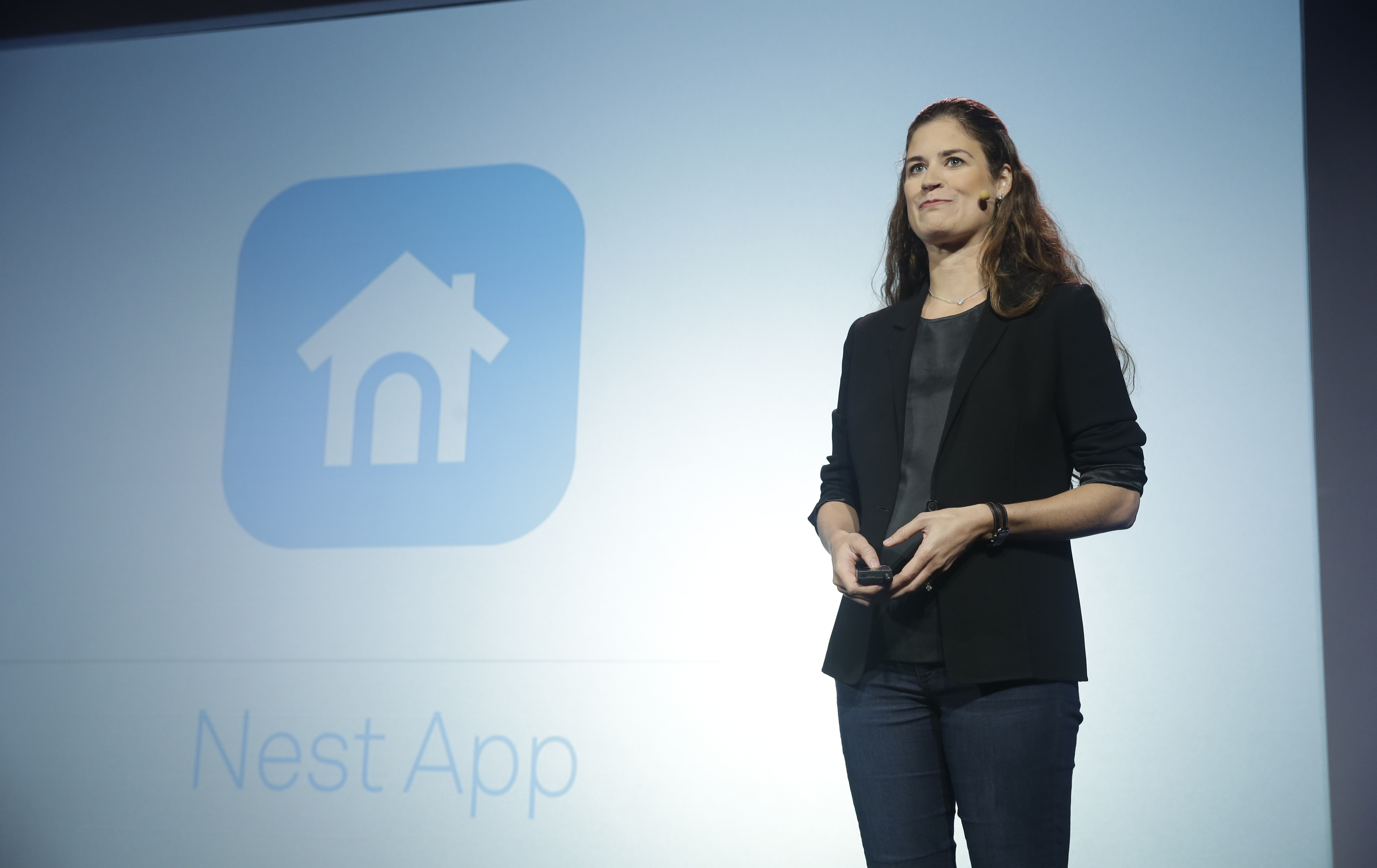 FILE - Sara Torti, senior product manager of apps for Nest, speaks during a press conference in San Francisco, June 17, 2015.