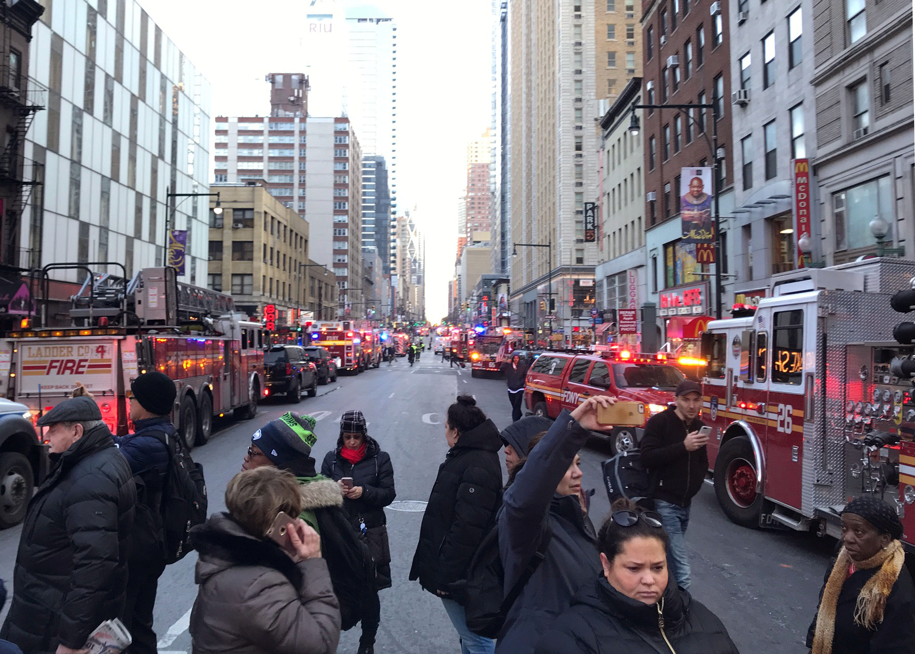 Police and fire crews block off the streets near the New York Port Authority in New York City, U.S. Dec. 11, 2017 after reports of an explosion.
