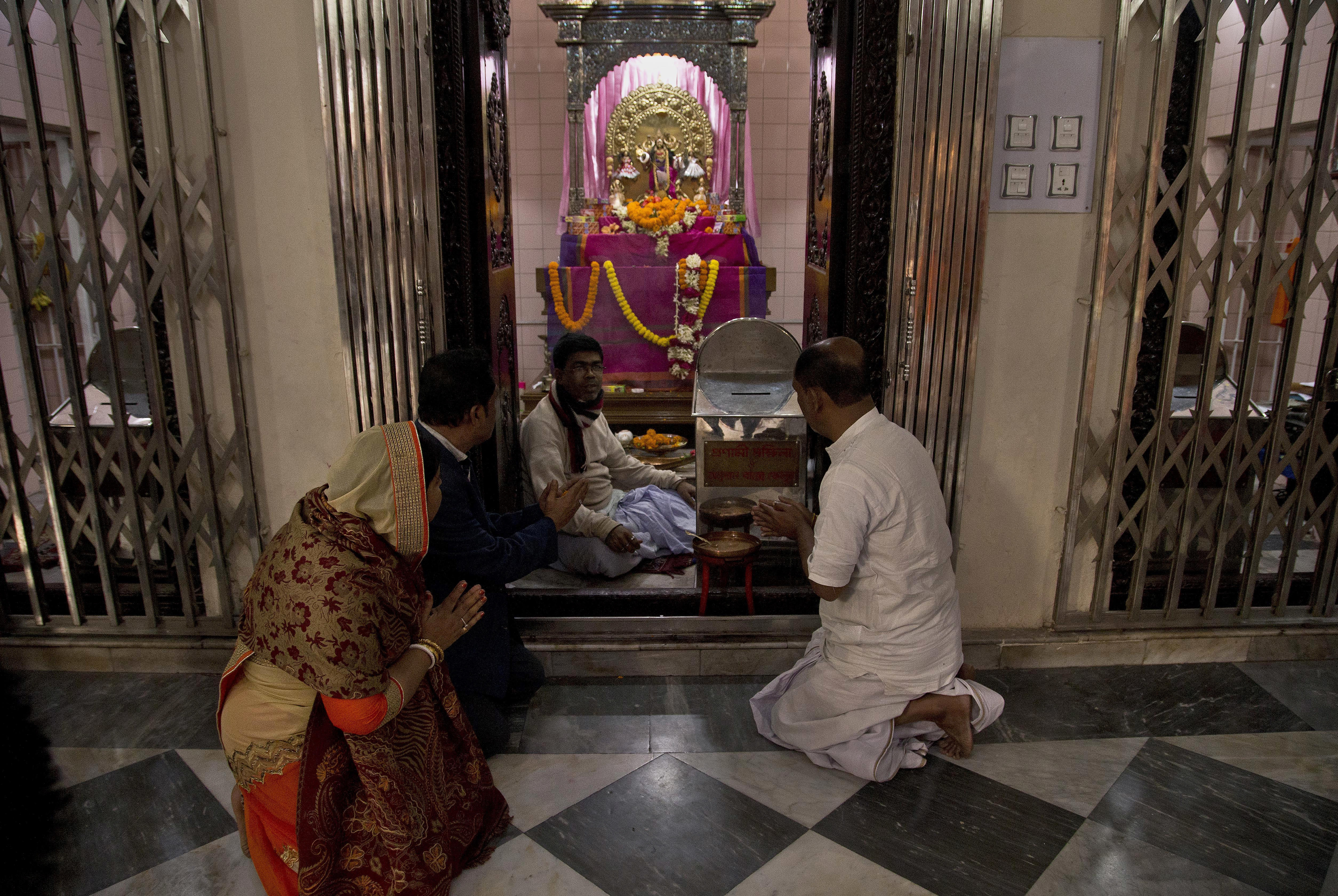 Hindu devotees pray at the Dhakeshwari Temple in Dhaka, Bangladesh, Jan. 1, 2019. Religious minorities in the Muslim-majority nation say Prime Minister Sheikh Hasina has safeguarded their rights.