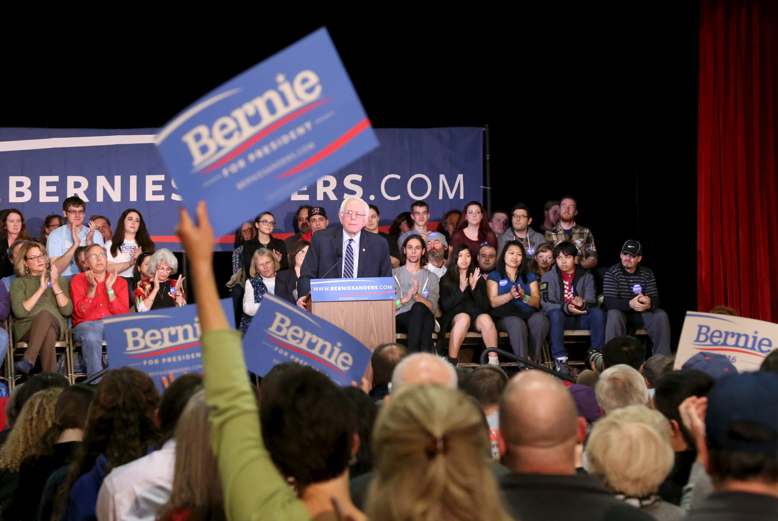 Democratic presidential candidate and Senator Bernie Sanders speaks during a campaign town hall meeting at Pinkerton Academy in Derry, New Hampshire, Oct. 30, 2015.