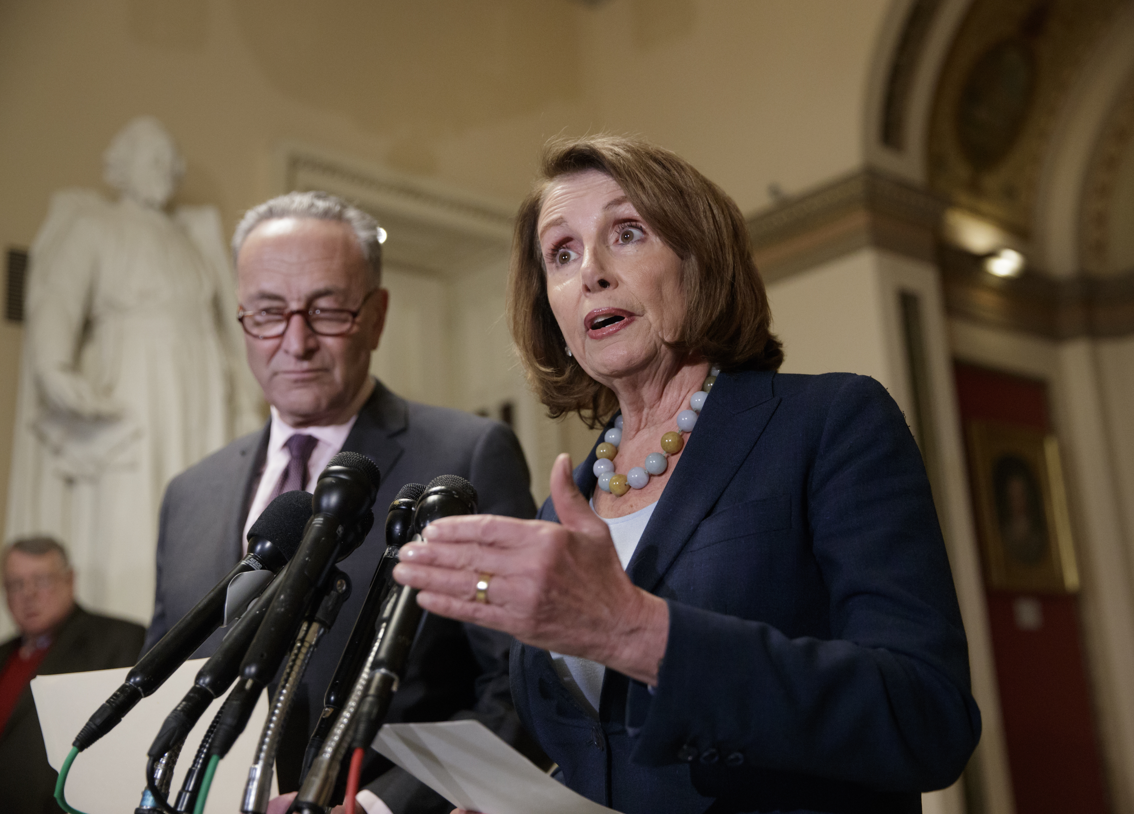 House Democratic Leader Nancy Pelosi of California, and Senate Democratic Leader Chuck Schumer of New York speak to reporters about the Congressional Budget Office projection that 14 million people would lose health coverage under the House Republica...