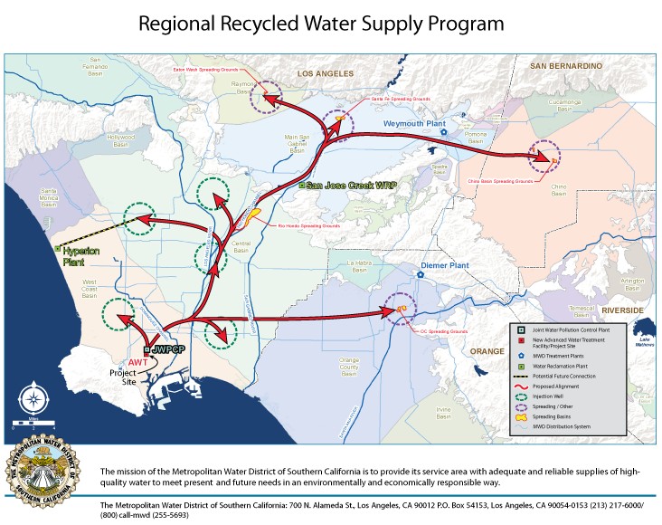 A Metropolitan Water District rendition of its planned $3.45 billion wastewater recycling program. By 2035, the system would move purified water from the JWPCP (lower left) through hundreds of kilometers of pipelines to groundwater basins in 3 counti...