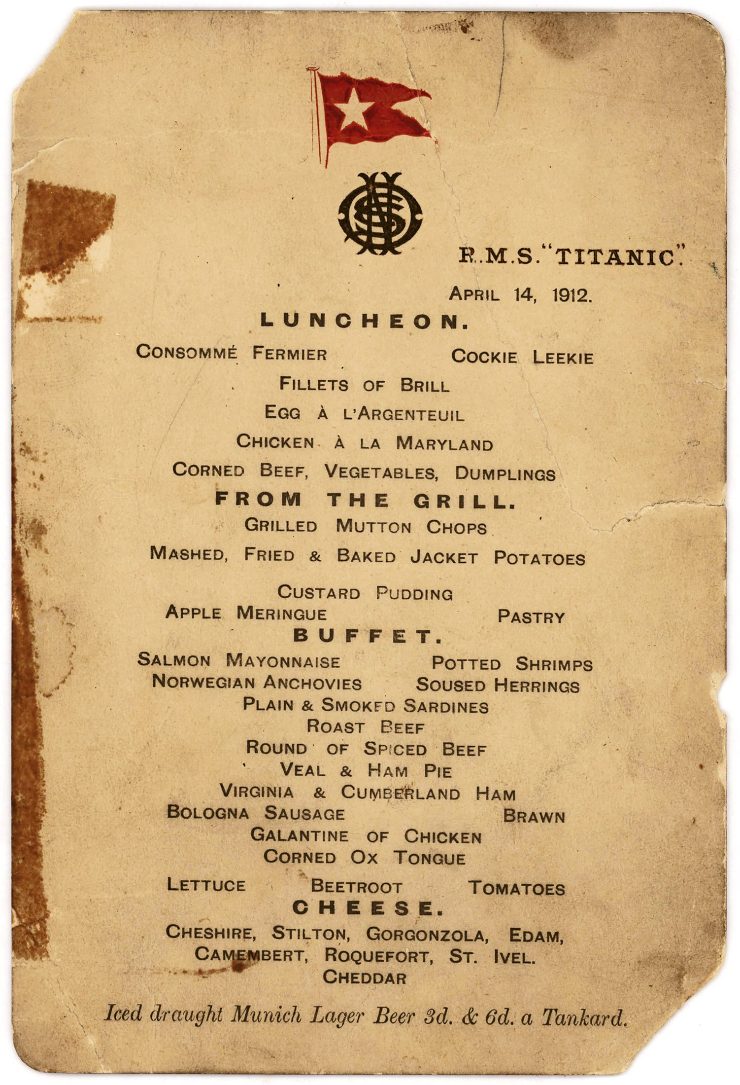 The last first-class luncheon menu from the ill-fated luxury cruise liner, the Titanic, dated Aug. 14, 1912, is seen in this undated handout image courtesy of Lion Heart Autographs.