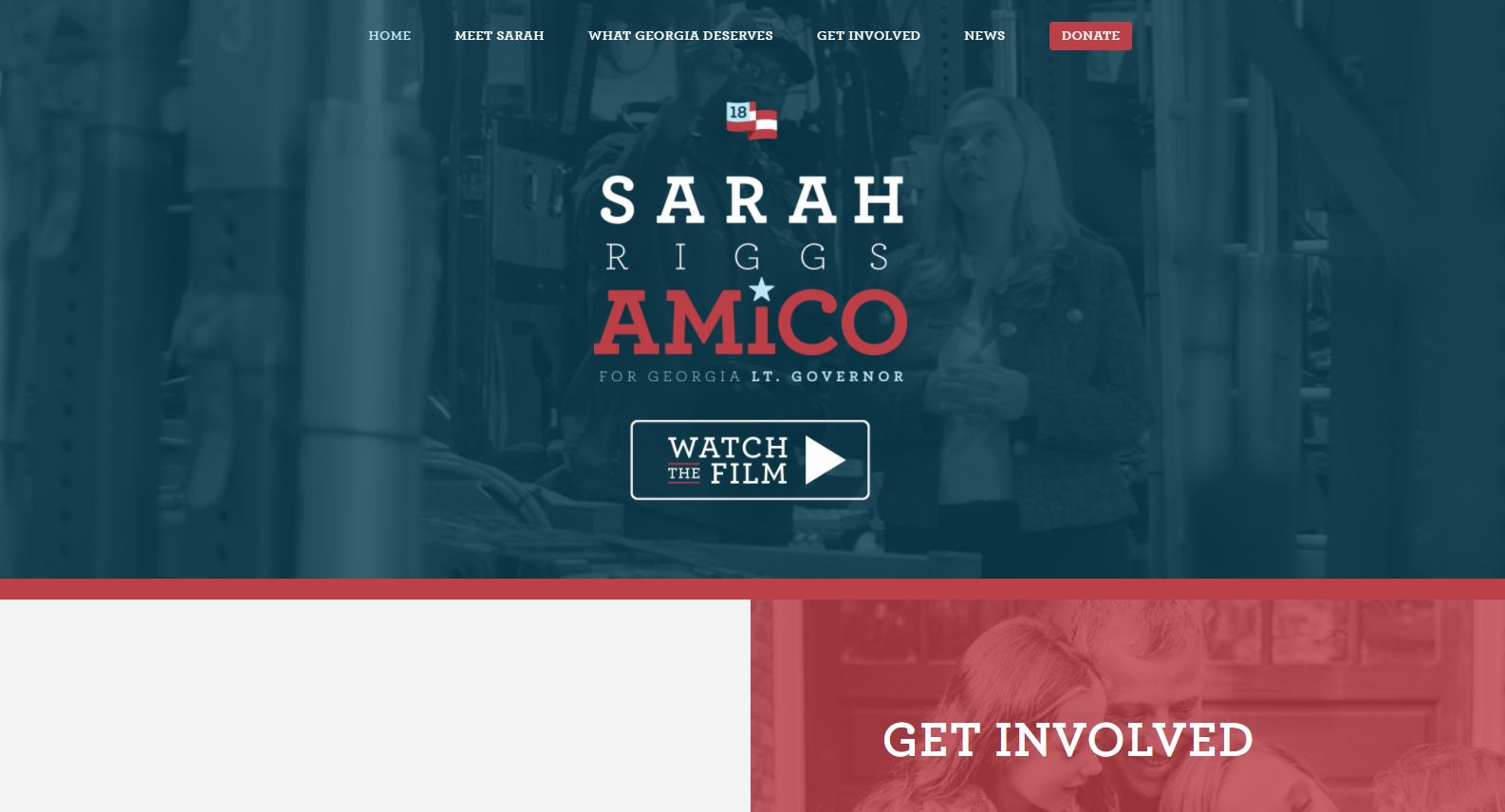 A portion of Sarah Riggs Amico's campaign website. The executive chairwoman of a major auto hauling company, she recently announced plans to run for lieutenant governor in Georgia.