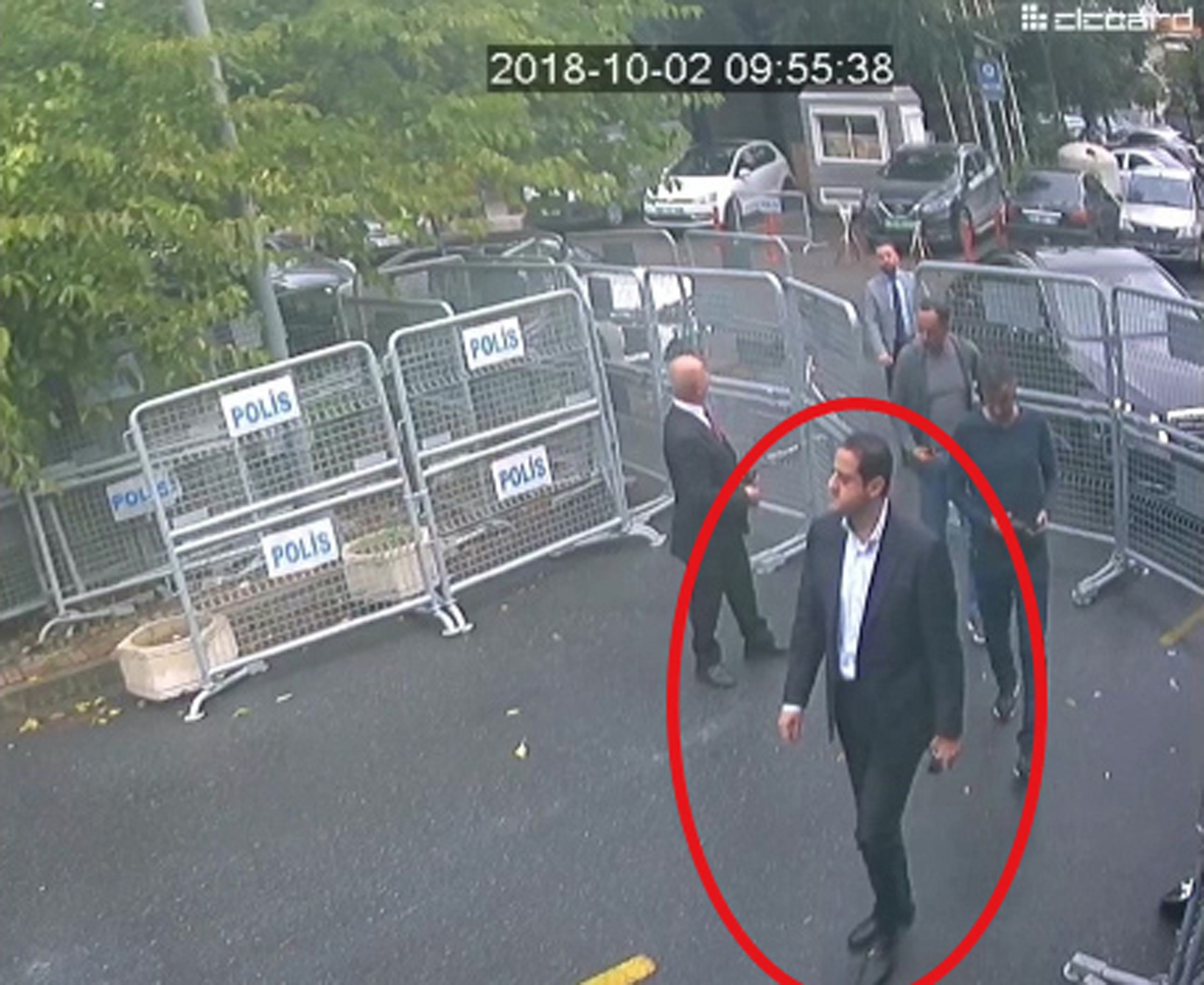 In a frame from surveillance camera footage taken Oct. 2, 2018, and published Oct. 18, 2018, by Turkish newspaper Sabah, a man identified by Turkish officials as Maher Abdulaziz Mutreb, walks toward the Saudi consulate in Istanbul before journalist J...