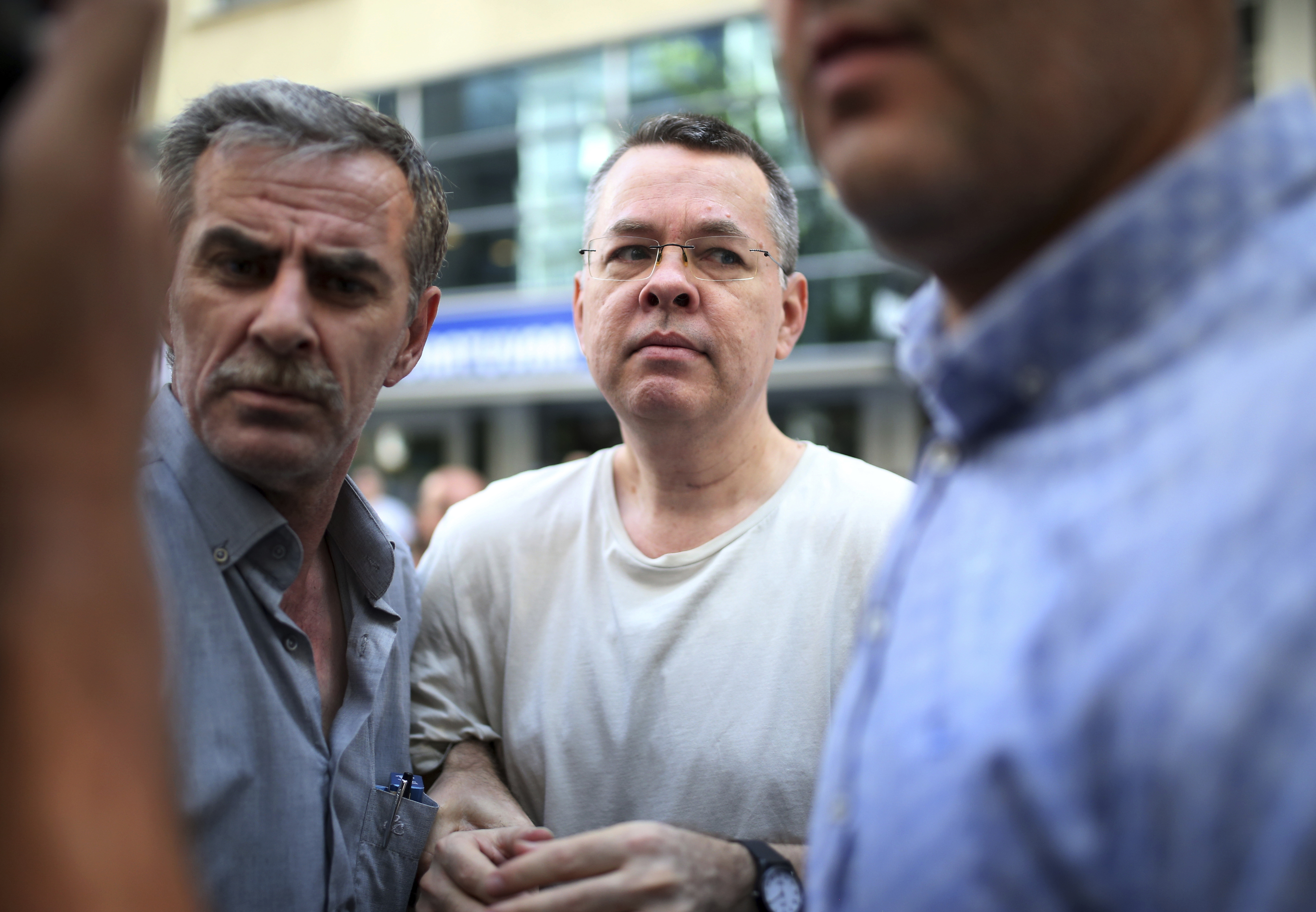 Andrew Craig Brunson, an evangelical pastor from Black Mountain, North Carolina, arrives at his house in Izmir, Turkey, July 25, 2018.