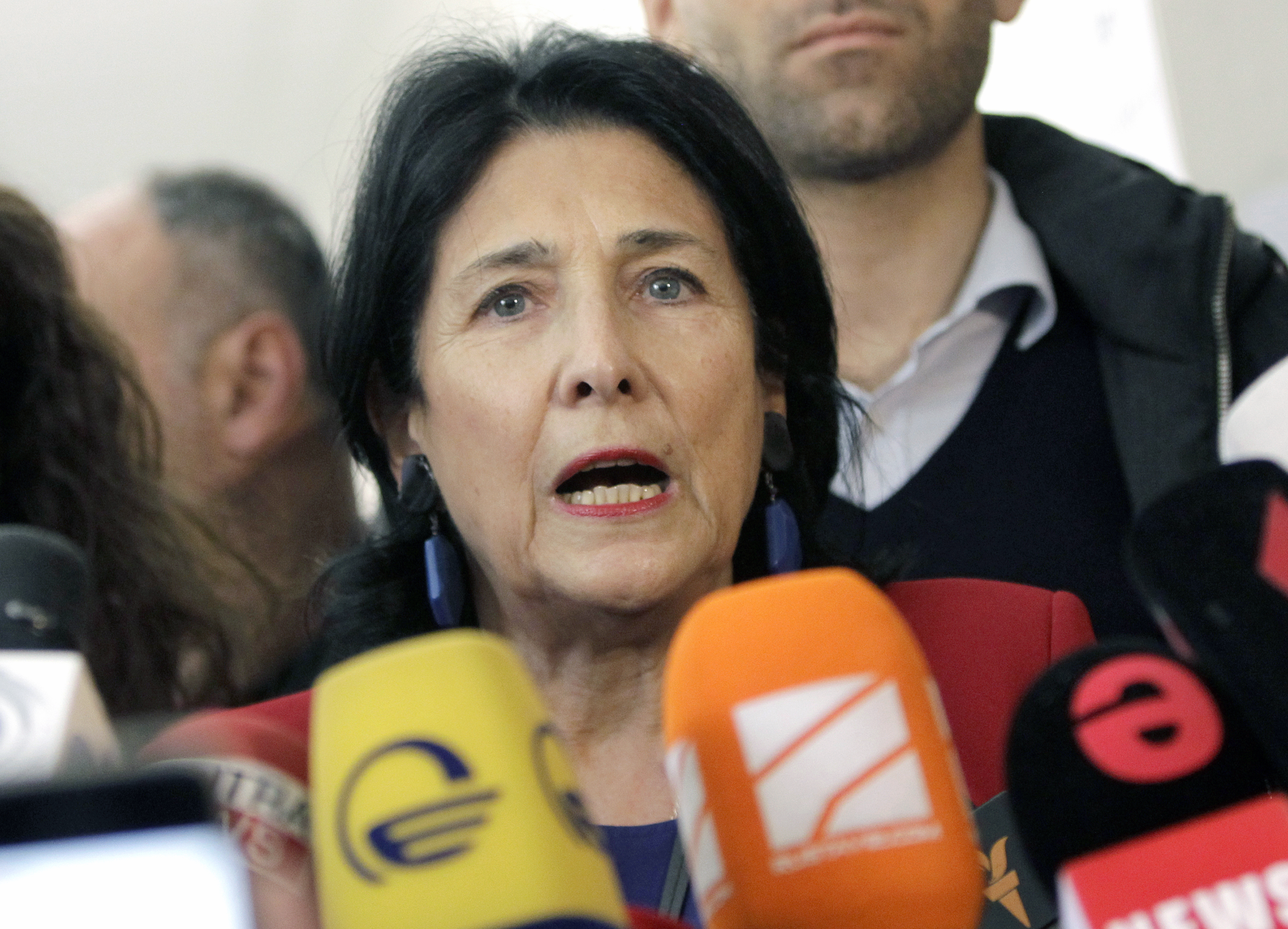 Salome Zurabishvili, former Georgian Foreign minister and presidential candidate, speaks to the media at a polling station in Tbilisi, Georgia, Oct. 28, 2018.