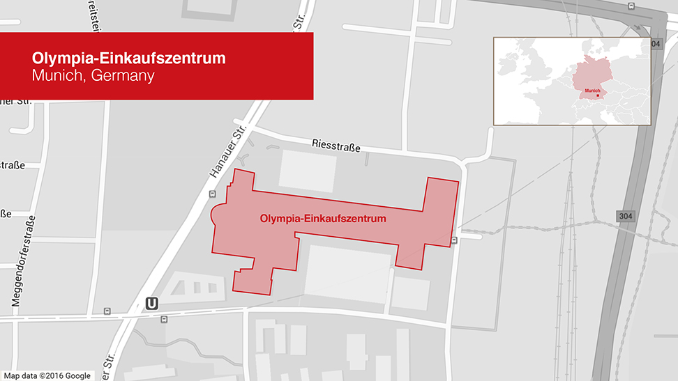 Locator Map of Olympia Shopping Center in Munich