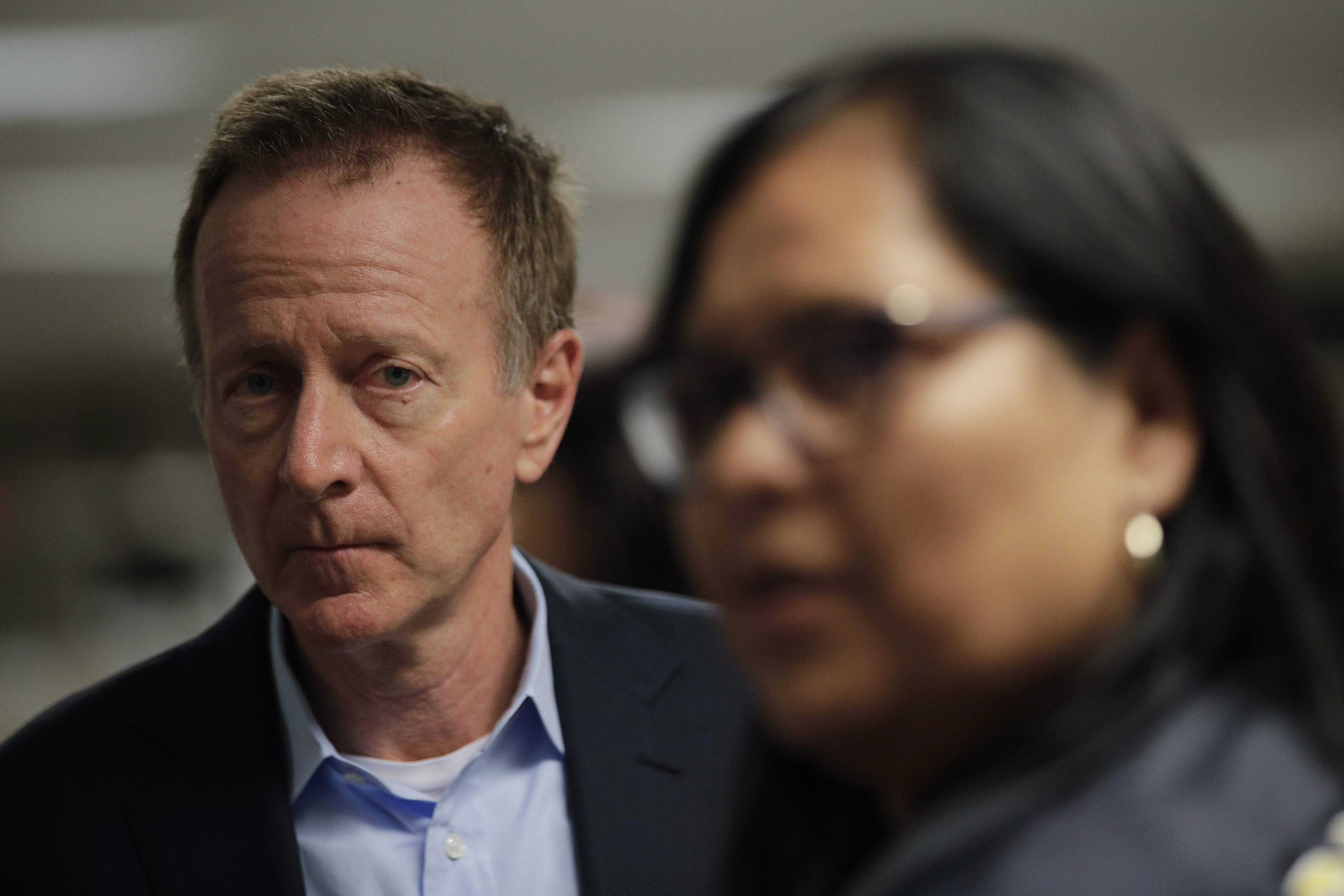 Los Angeles Unified School District Superintendent Austin Beutner, left, and board president Monica Garcia wait in the hallway for a news conference at the LAUSD headquarters, Jan. 15, 2019, in Los Angeles.