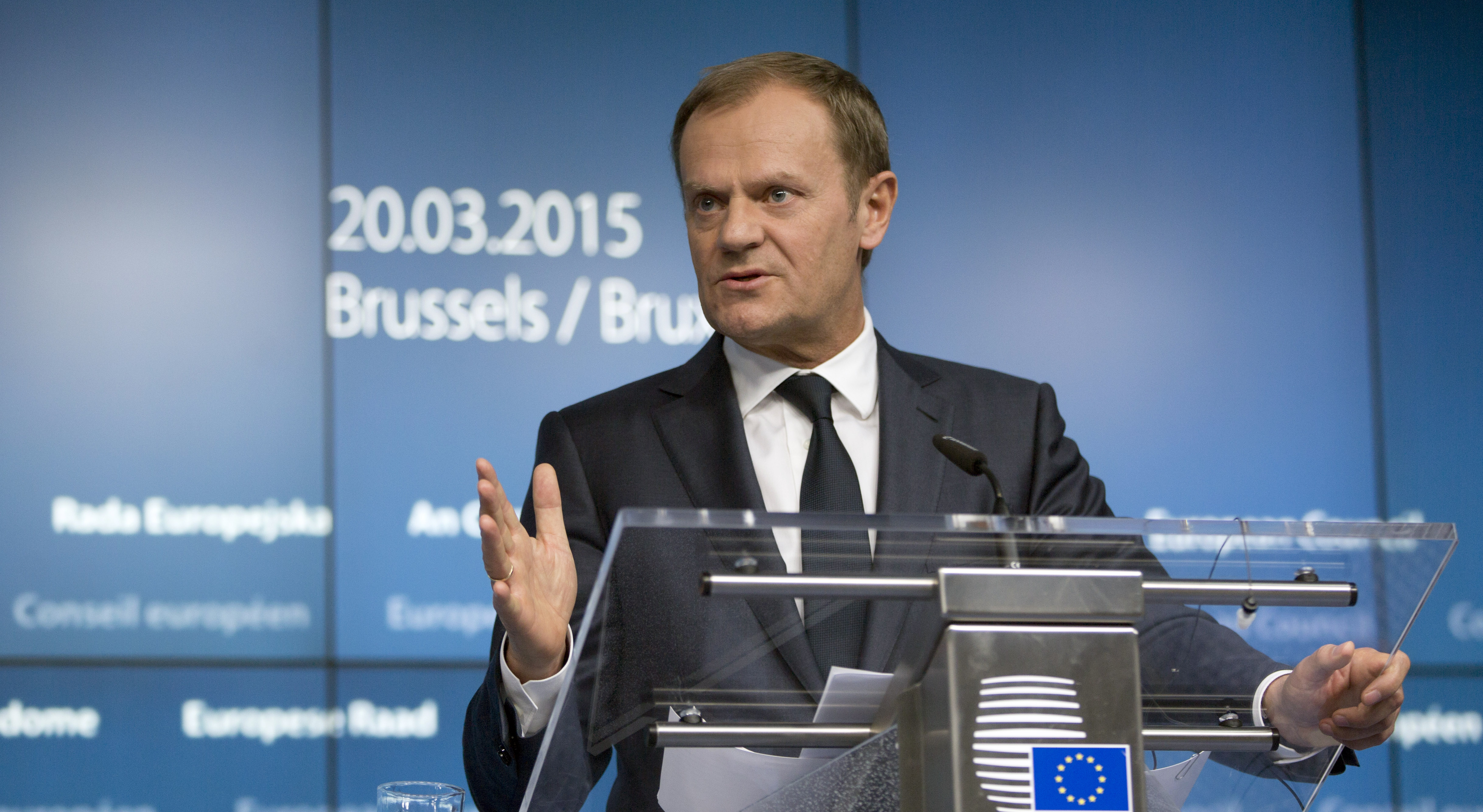 European Council President Donald Tusk speaks during a media conference at an EU summit in Brussels March 20, 2015.