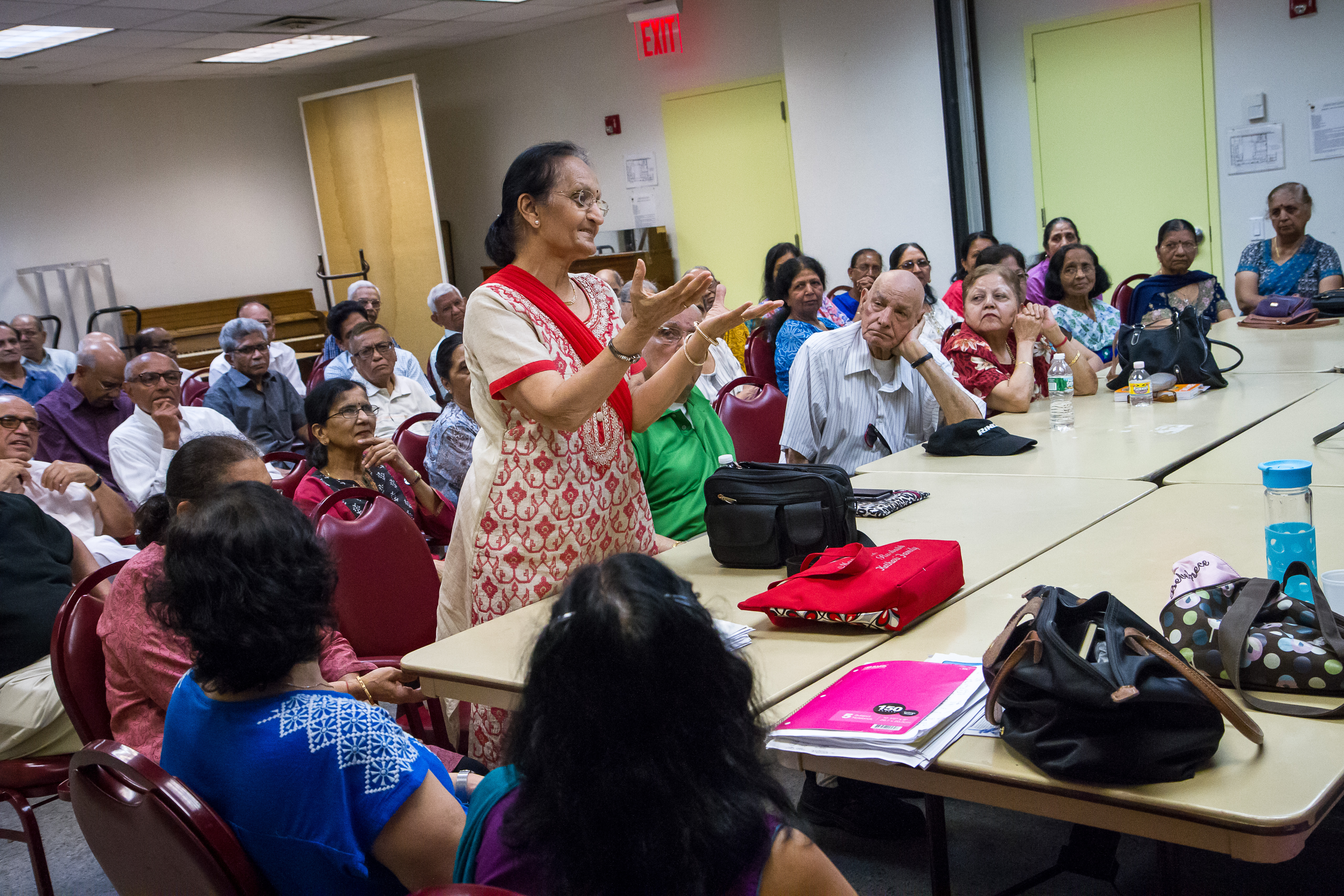Usha Shah, 73, participates in a Father's Day discussion at India Home.