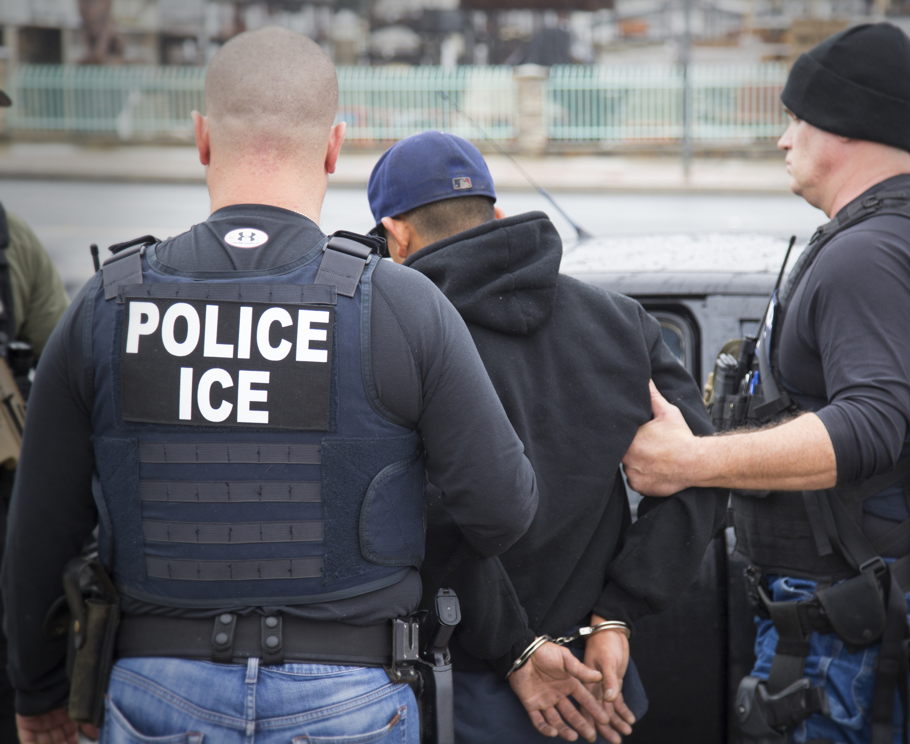 In this Feb. 7, 2017, photo released by U.S. Immigration and Customs Enforcement shows foreign nationals being arrested  during an operation conducted by U.S. Immigration and Customs Enforcement (ICE) aimed at immigration fugitives, re-entrants and a