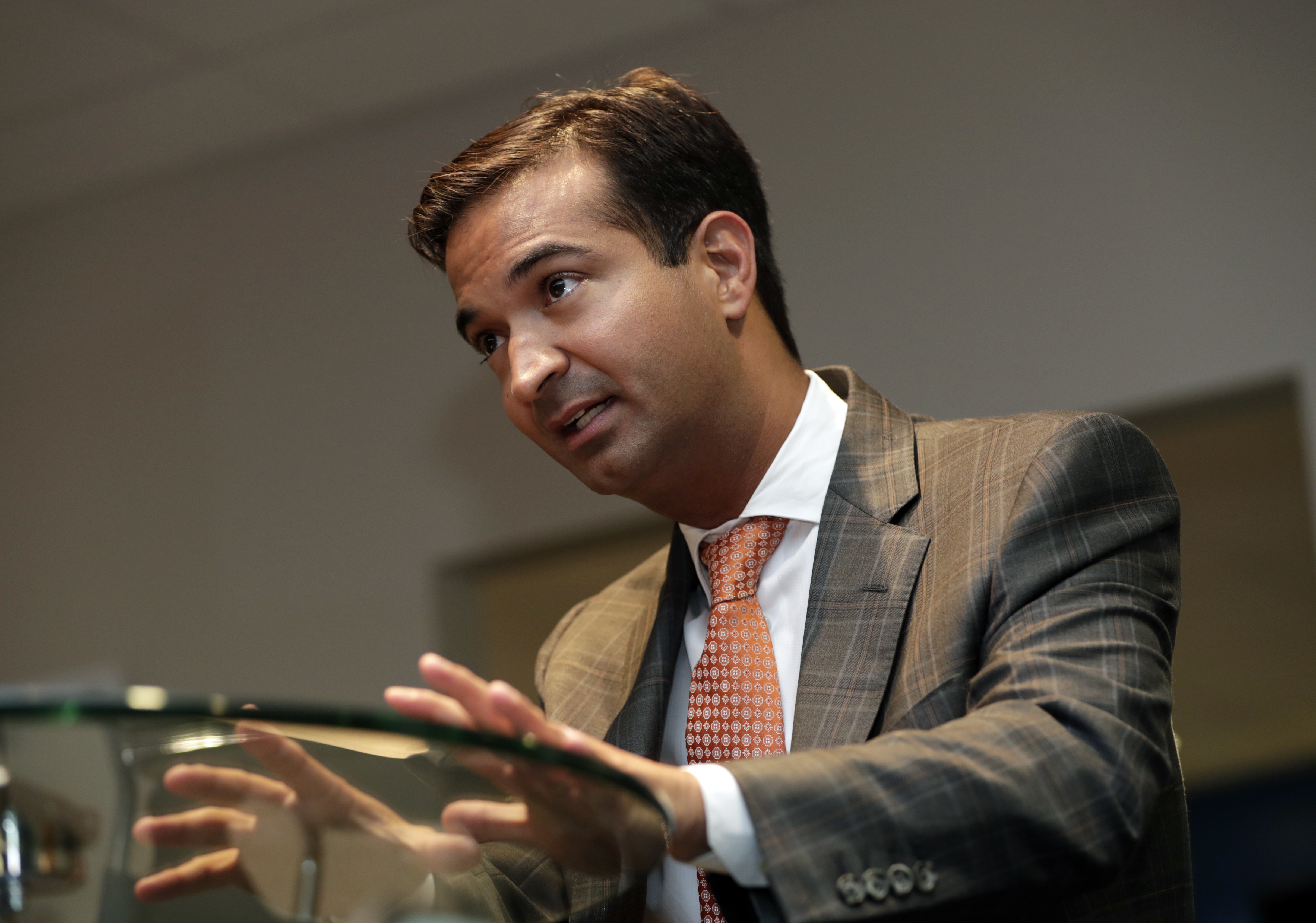 Rep. Carlos Curbelo, R-Fla., speaks during an interview in Homestead, Fla., May 29, 2018. In a district stretching from upscale Miami suburbs to the Everglades and down the Florida Keys to eccentric Key West, 70 percent of Curbelo's constituents ar...