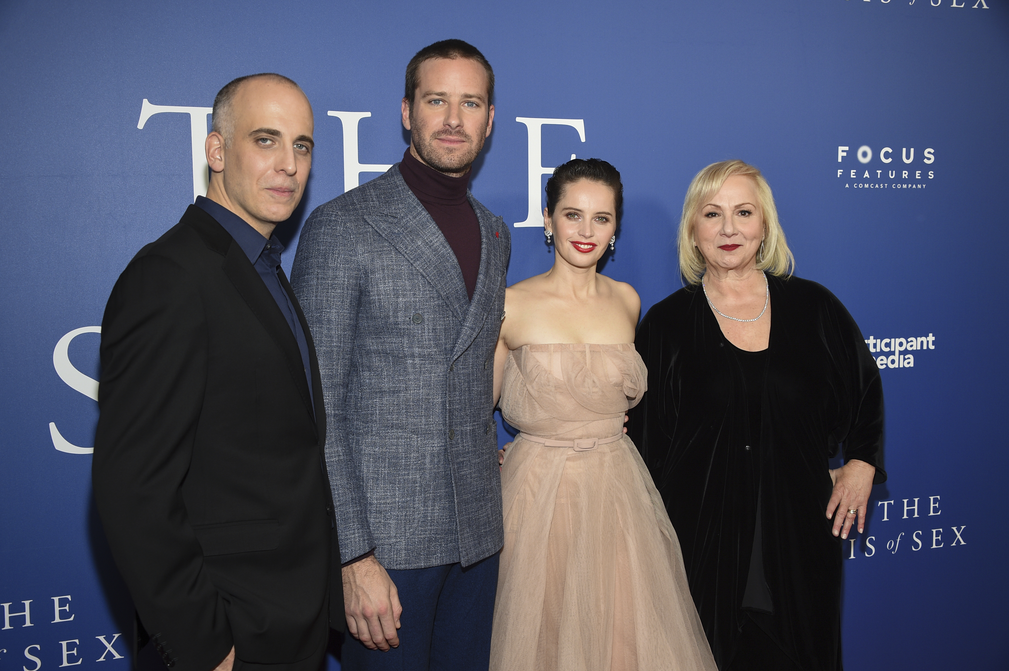 """Screenwriter Daniel Stiepleman, left, actor Armie Hammer, actress Felicity Jones and director Mimi Leder pose together at a special screening of """"On The Basis of Sex"""" at the Walter Reade Theater on Dec. 16, 2018, in New York."""