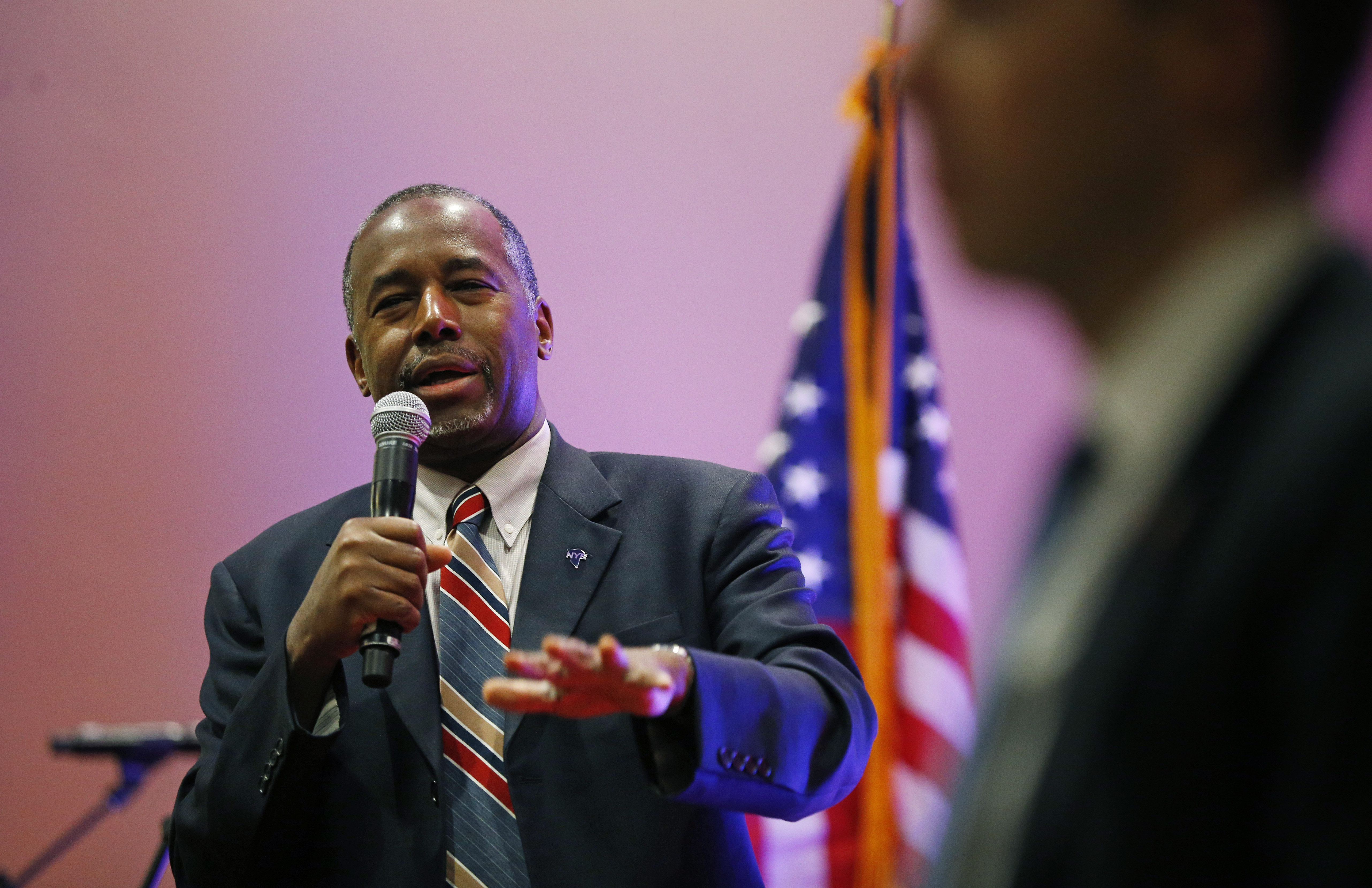 Republican presidential candidate, Dr. Ben Carson speaks at a rally in Pahrump, Nevada, Nov. 23, 2015.