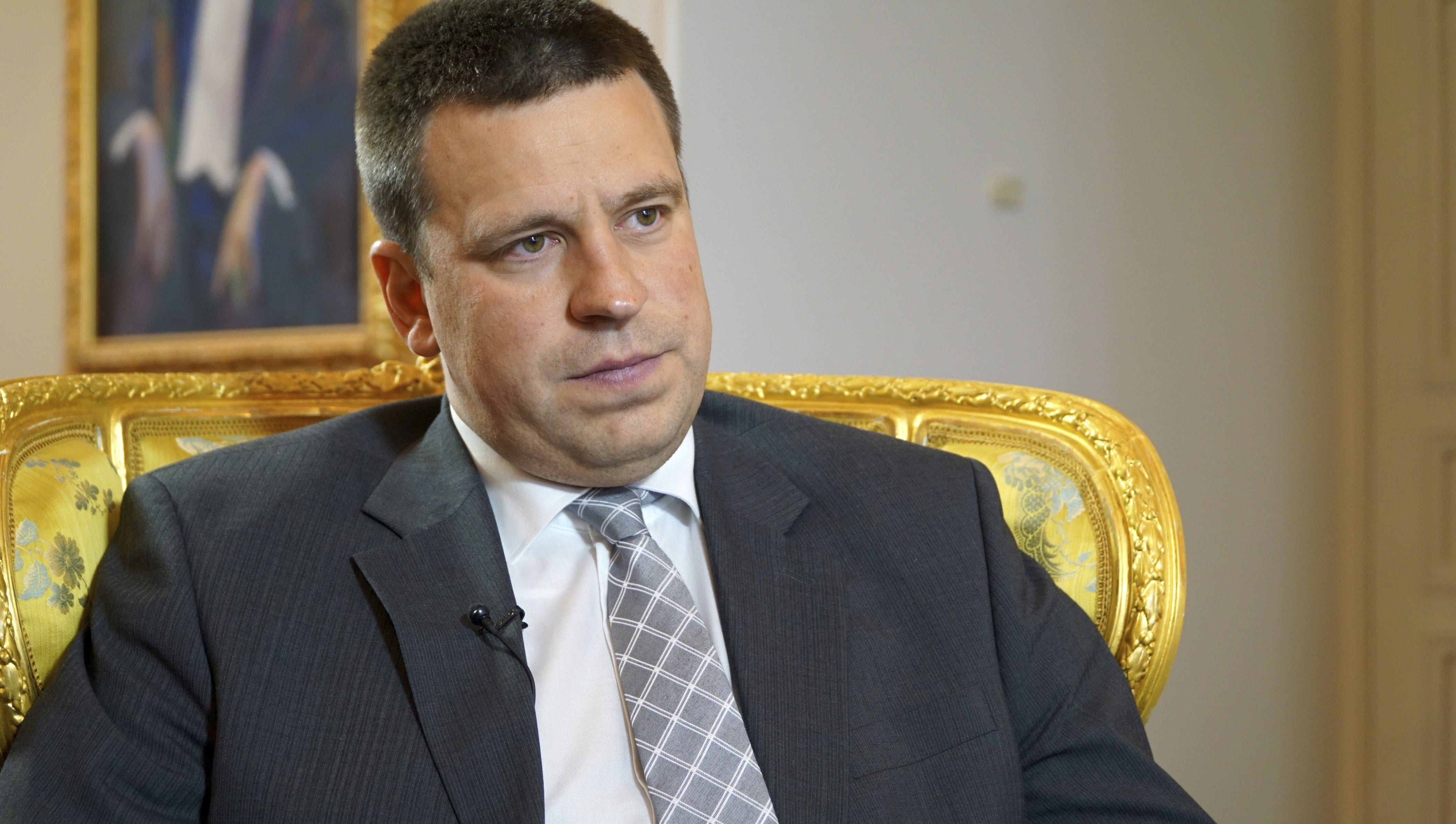 Estonian Prime Minister Juri Ratas answers questions by The Associated Press during an interview in Estonia's capital,Tallinn, June 2, 2017.